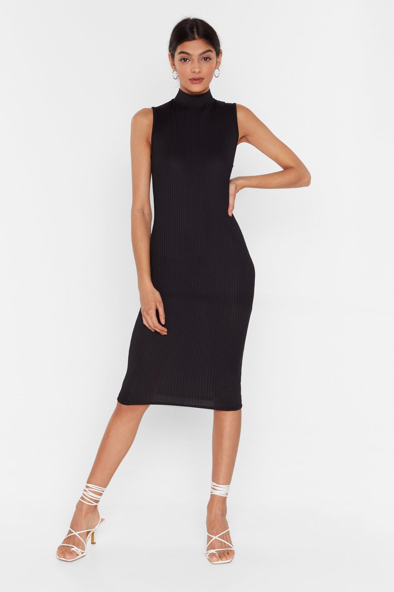 Image of rib midi dress