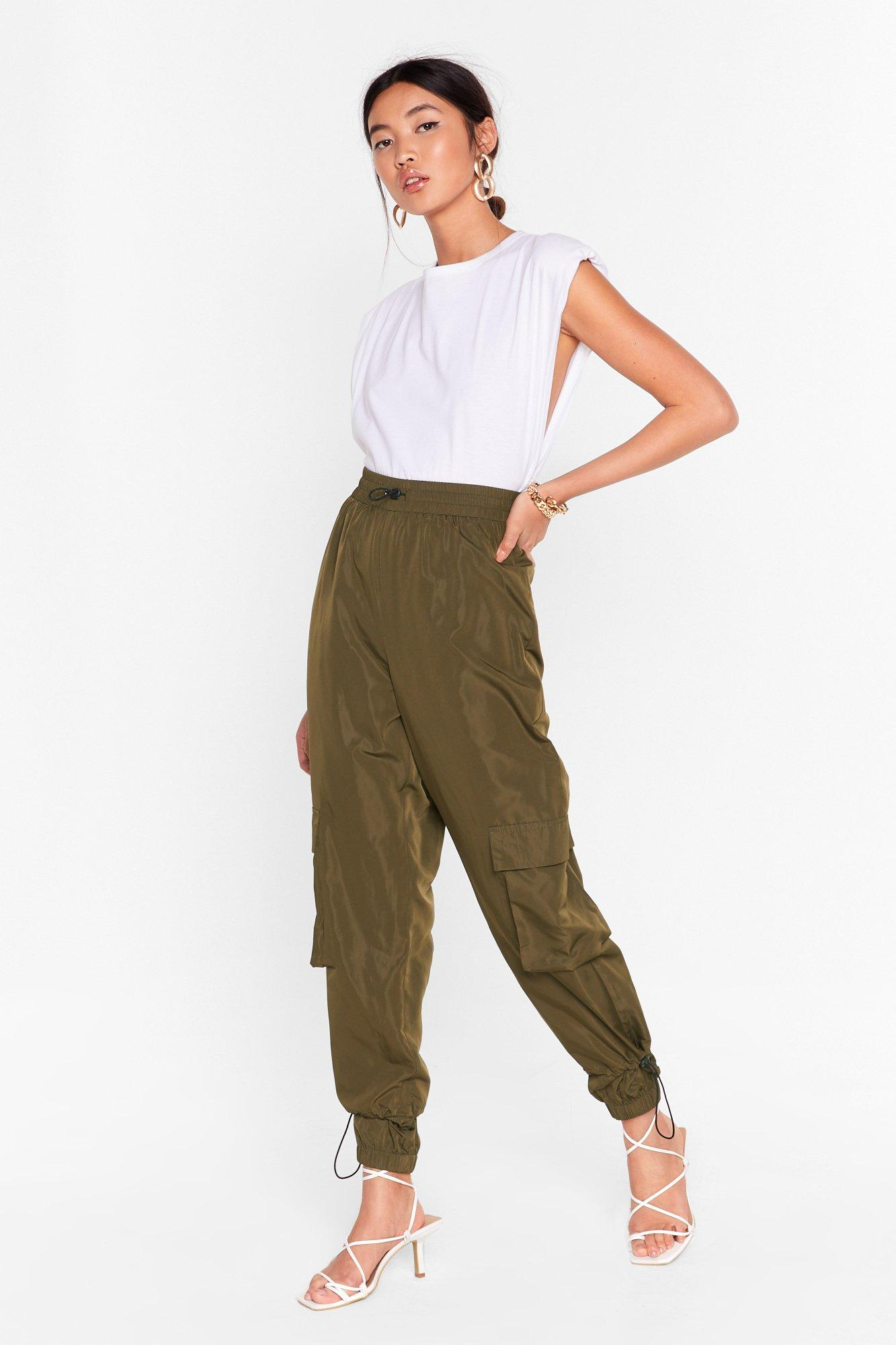 Image of Cargo Back There High-Waisted Drawstring Pants