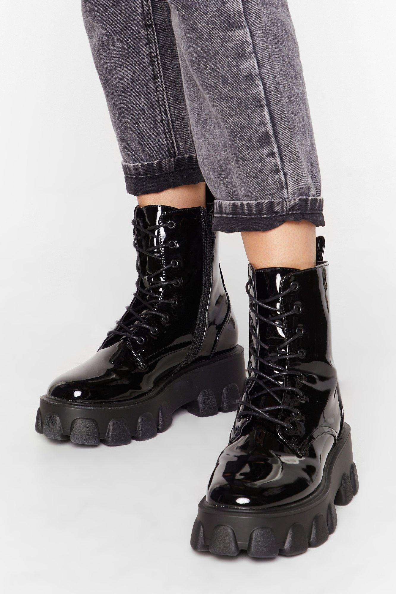 Image of Things Just Got Cleated Patent Faux Leather Boots