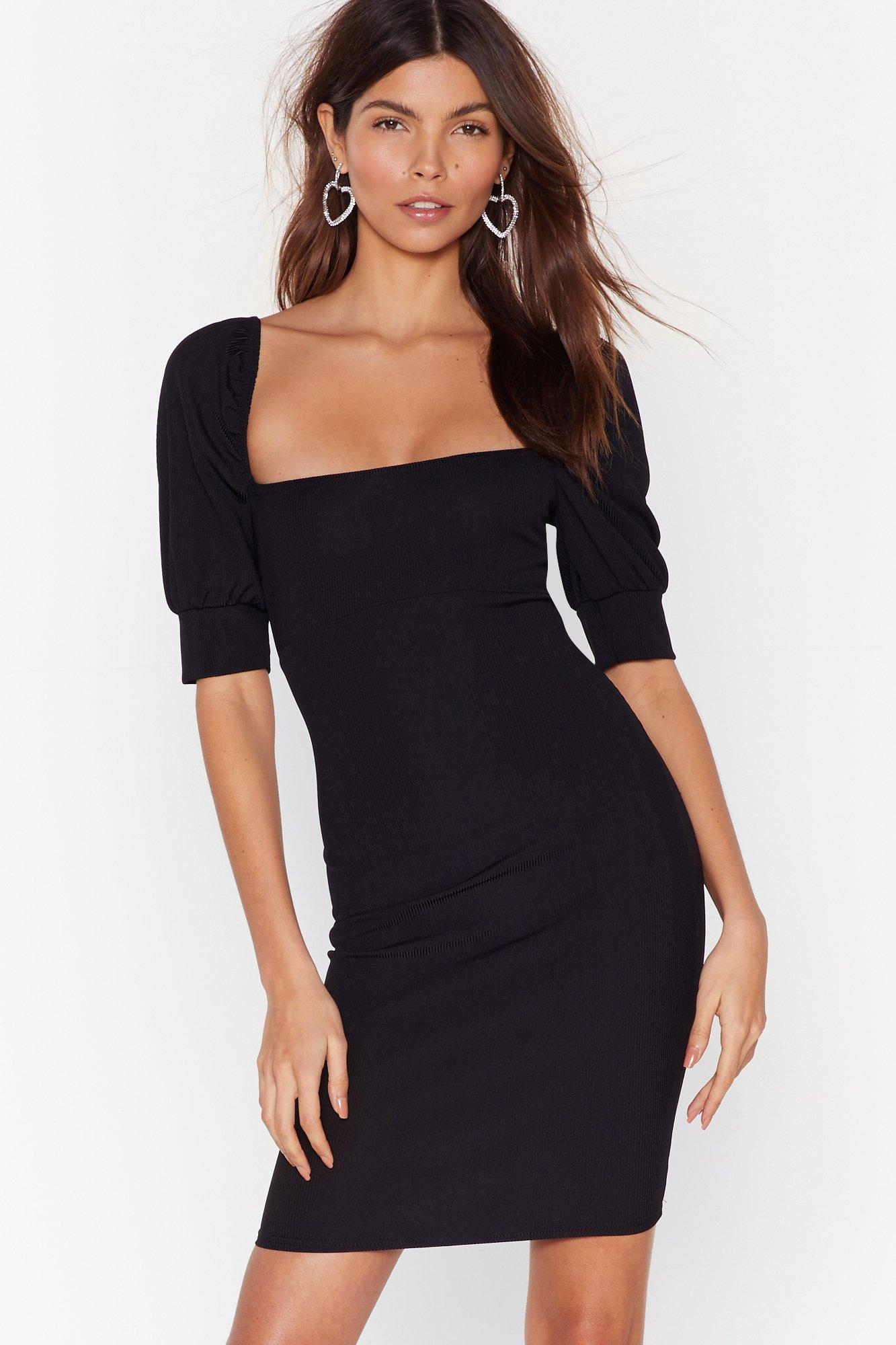 Image of Right Square You Belong Puff Sleeve Mini Dress