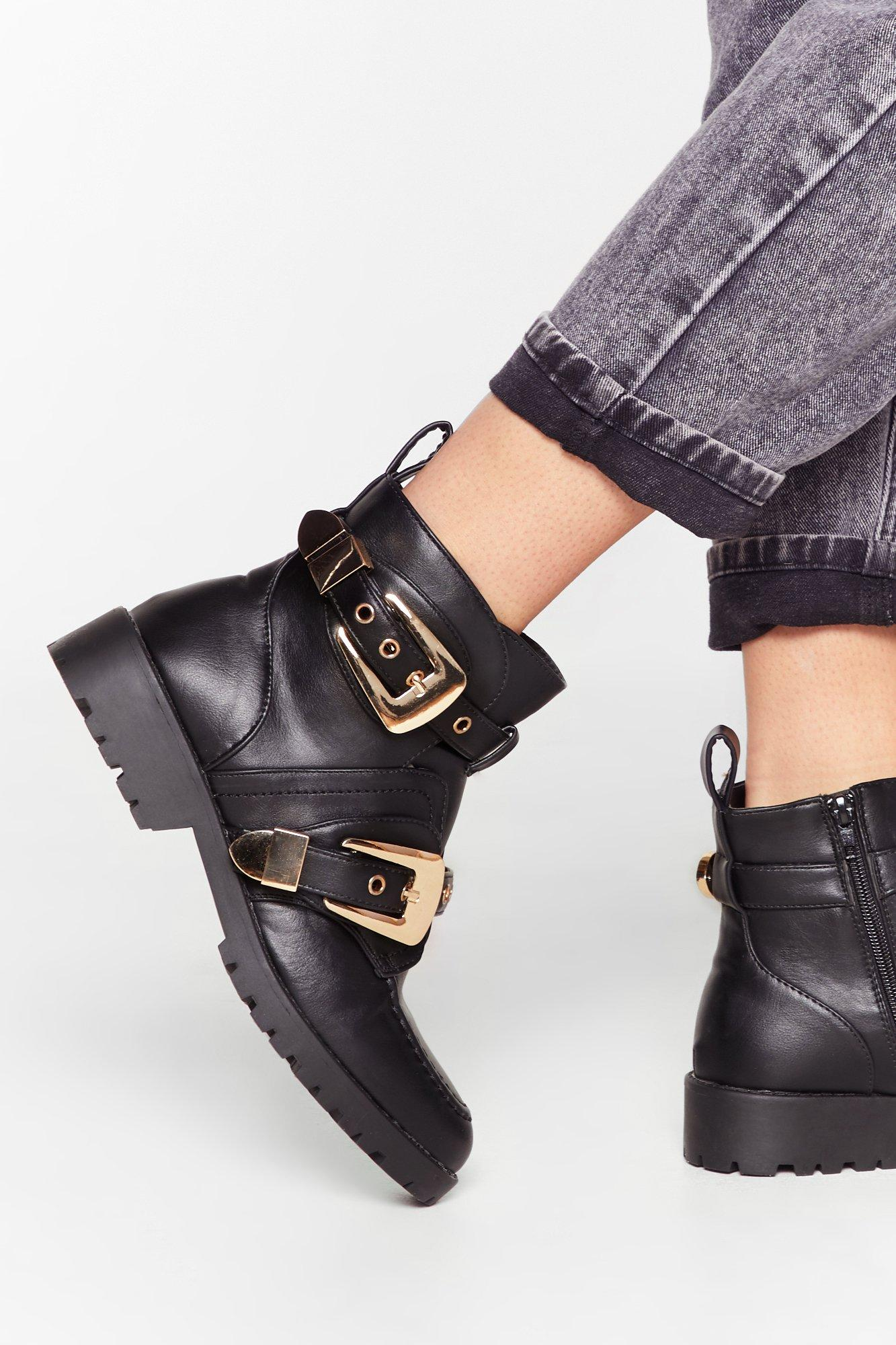 Image of Double the Fun Faux Leather Biker Boots