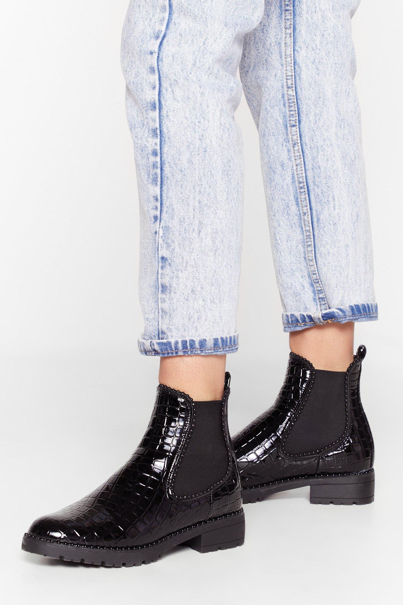 Image of You Croc Potential Patent Faux Leather Chelsea Boots