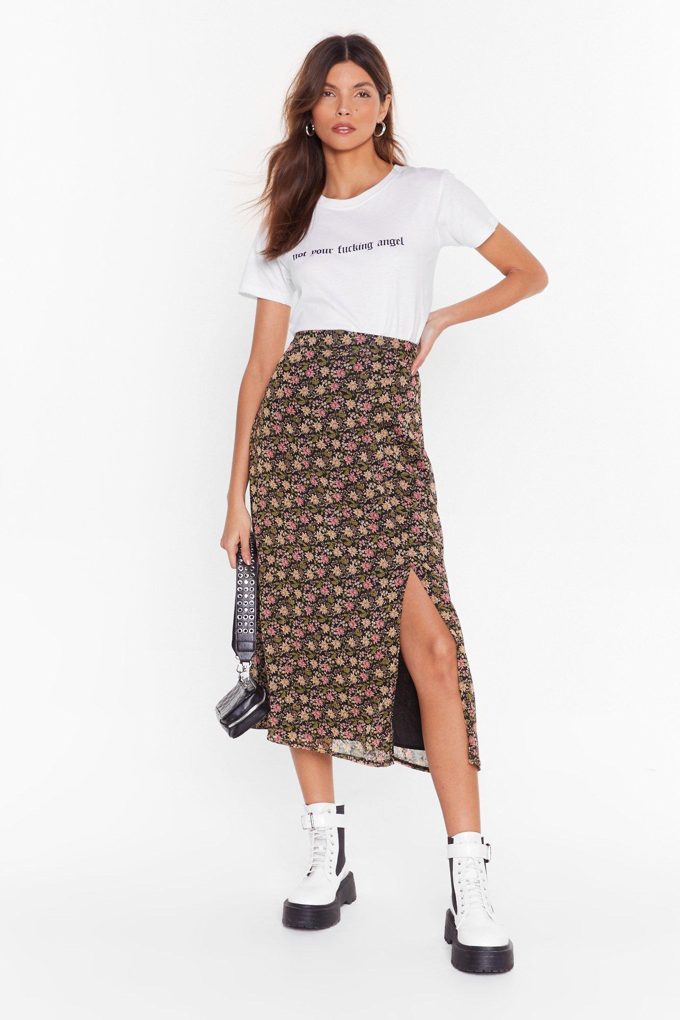 Image of Seed It and Weep Floral Midi Skirt