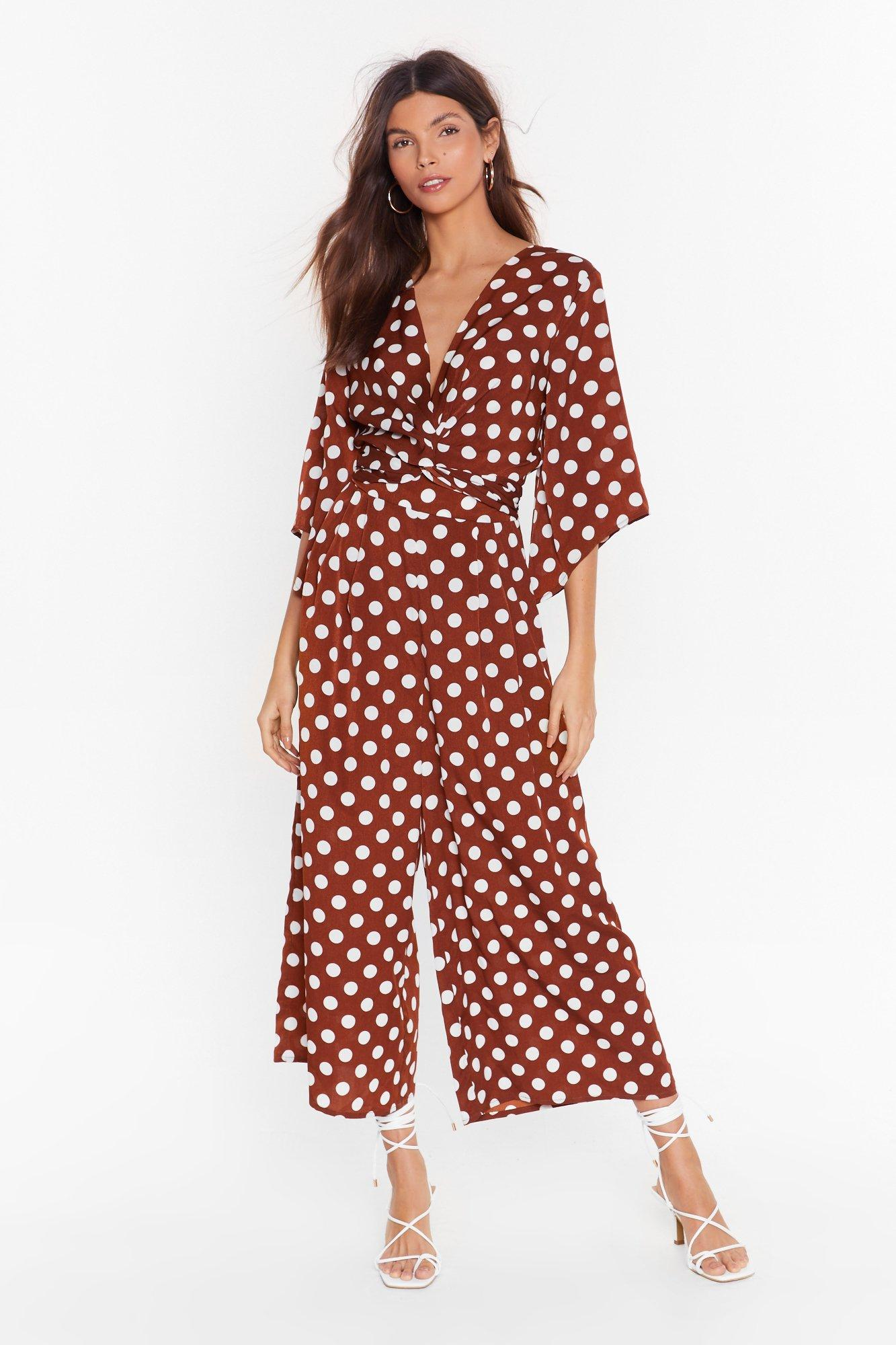 Image of Dot Today Babe Polka Dot Culotte Jumpsuit