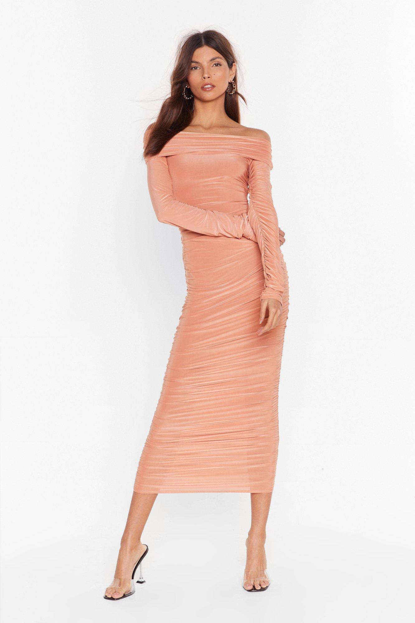 Image of Bare in Mind Ruched Off-the-Shoulder Dress