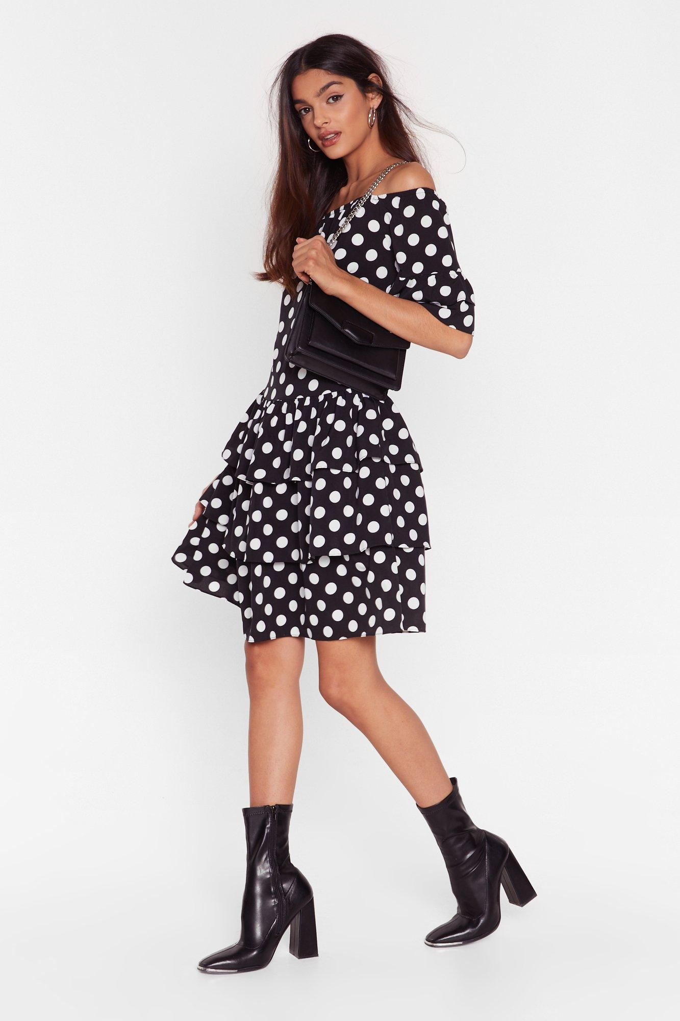 Image of Spot That Off-the-Shoulder Mini Dress