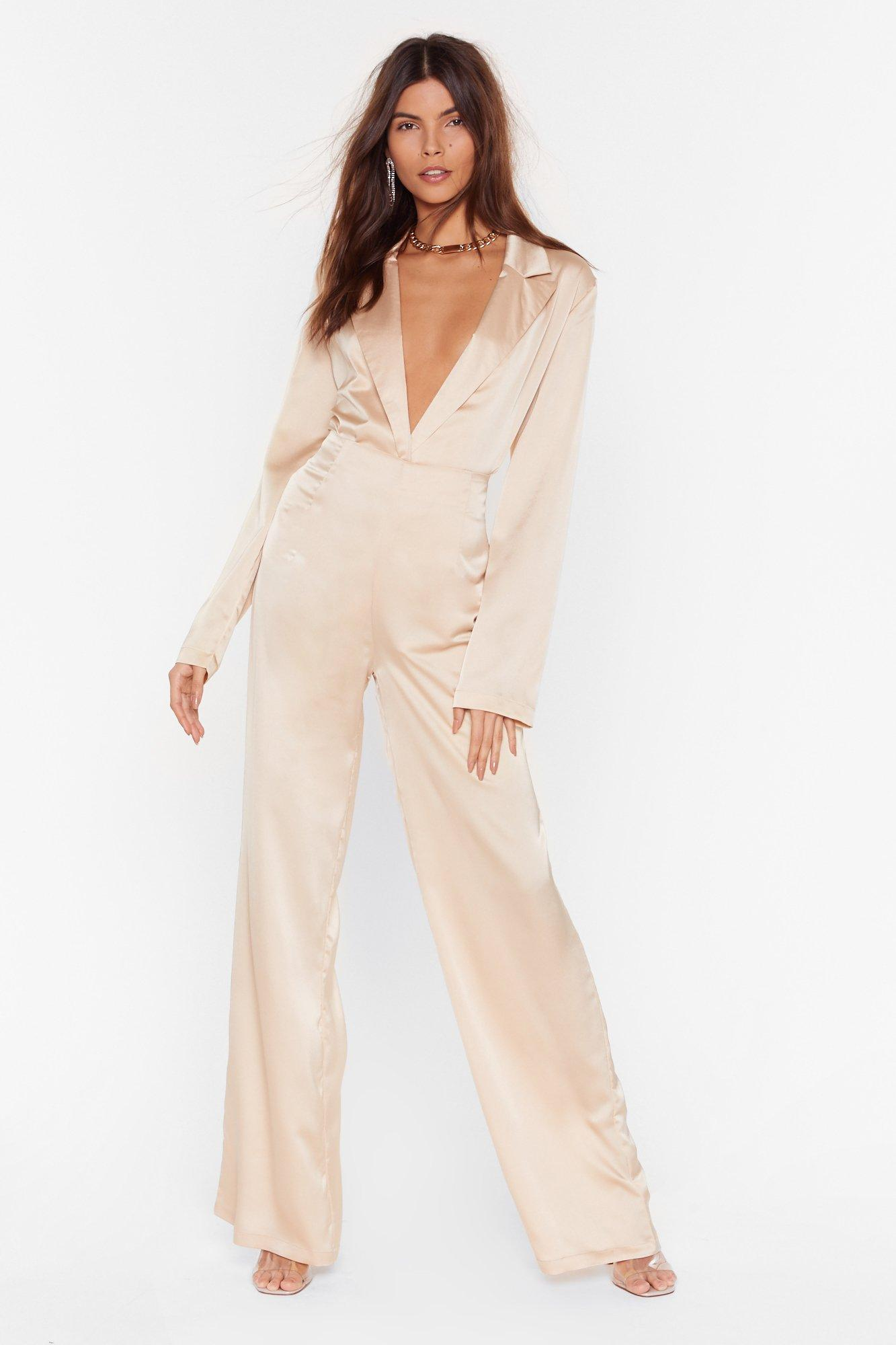 Image of Sleek to Our Heart Satin Wide-Leg Pants