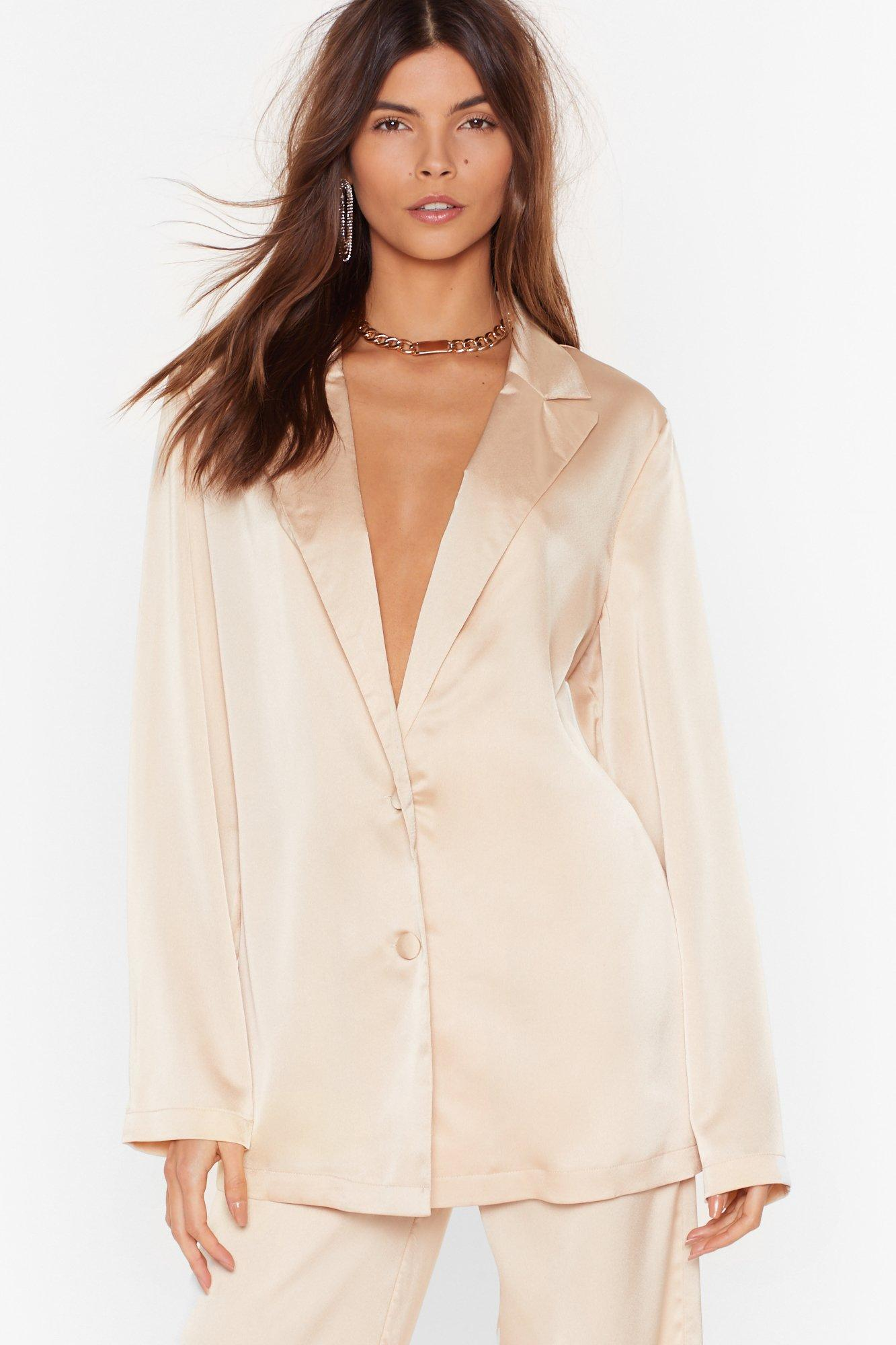 Image of Sleek to Our Heart Satin Longline Shirt