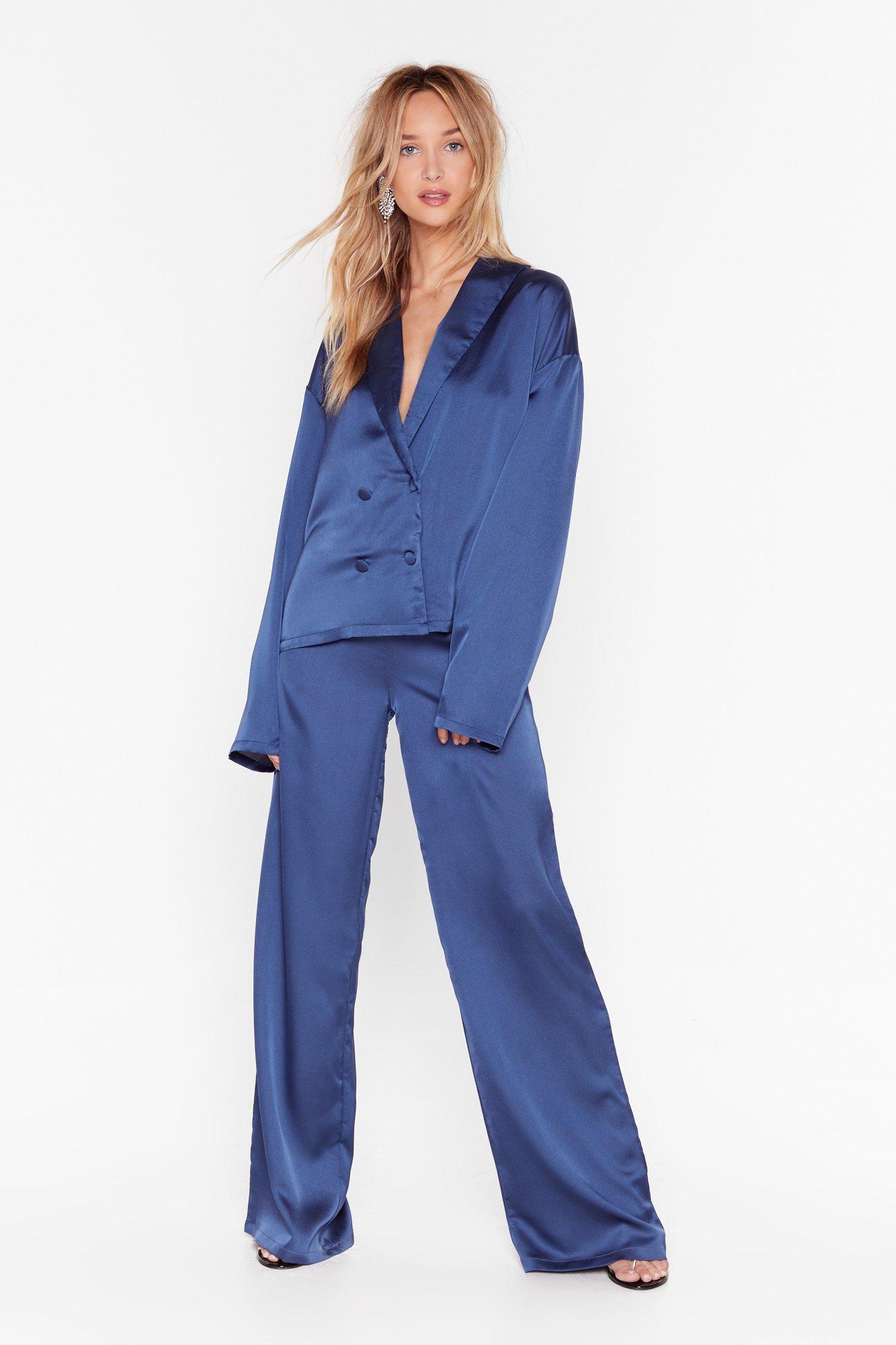 Image of Sleeks for Itself Satin Wide-Leg Pants