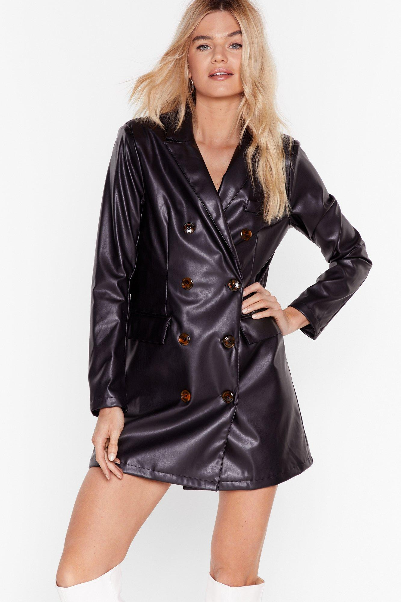 Image of Ain't Faux Leather Going Back Blazer Dress