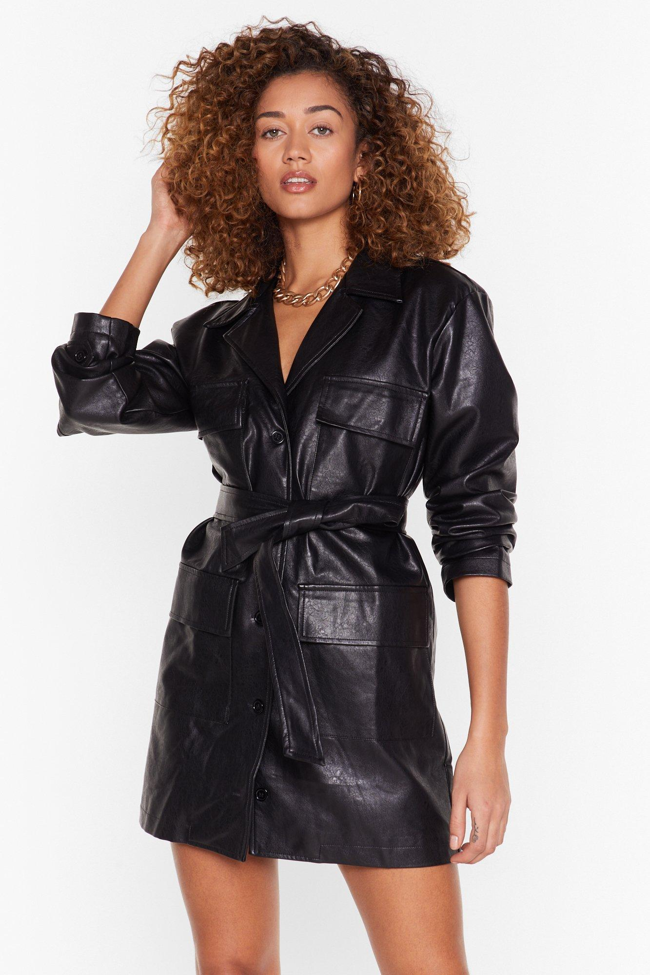 Image of Get It Together Faux Leather Blazer Dress