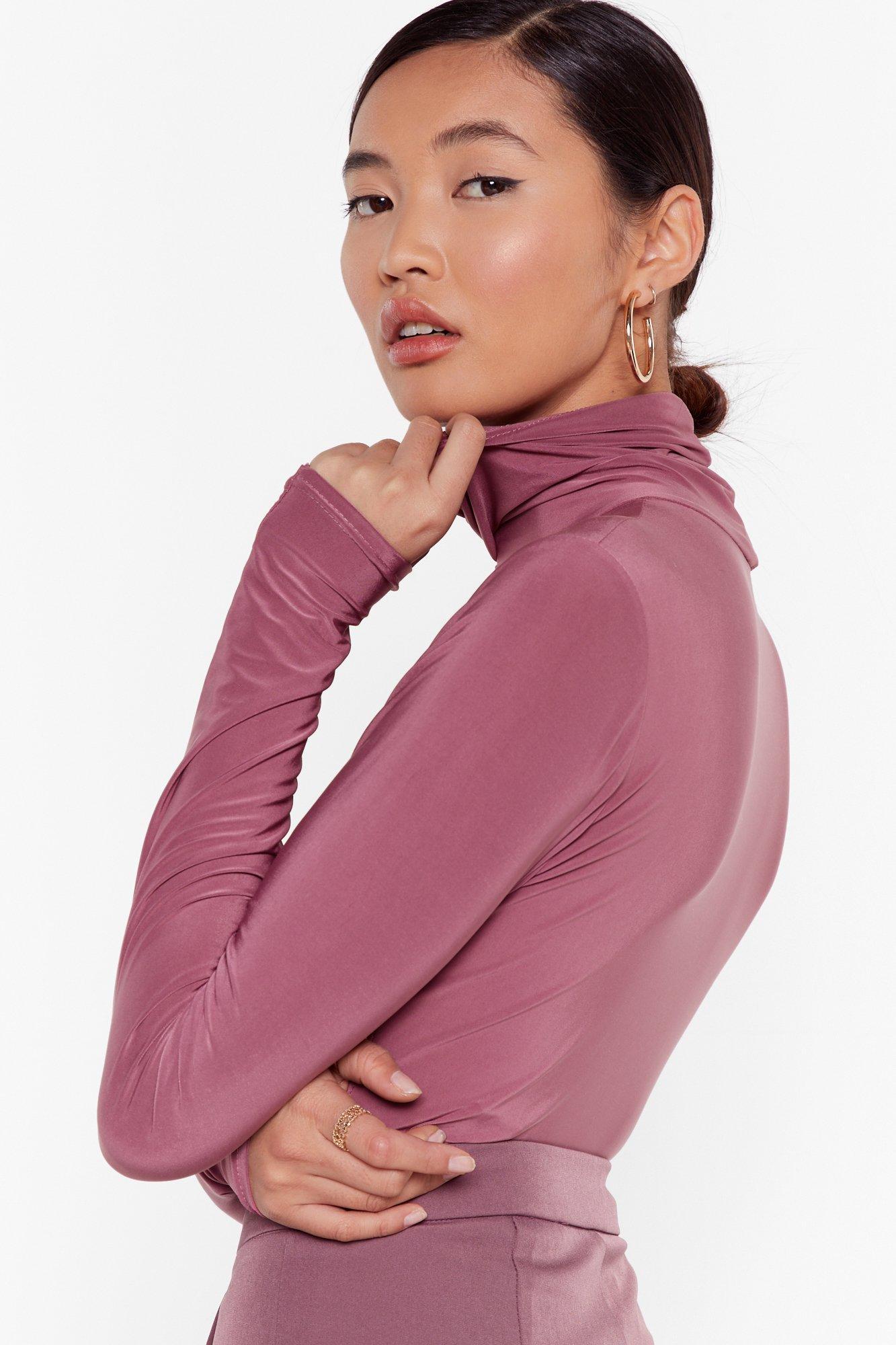 Image of Sleek You Out High Neck Slinky Bodysuit