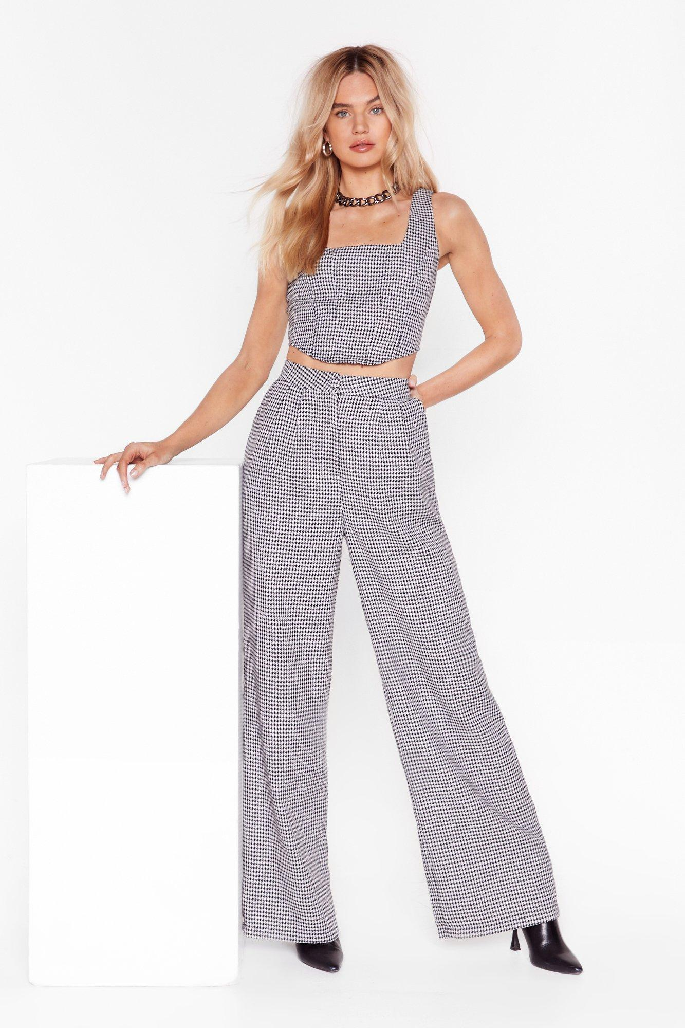 Image of Houndstooth What I'm Looking For Wide Leg Pants