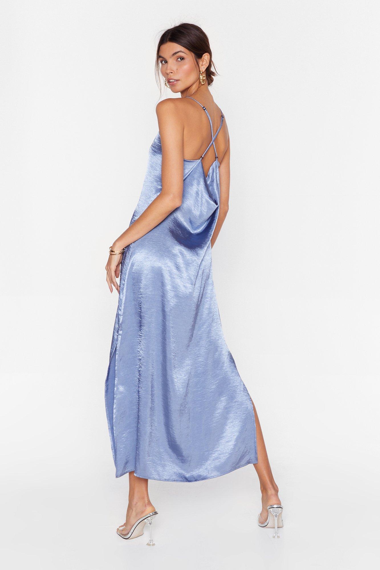 Image of Don't Cowl Me Back Satin Midi Dress