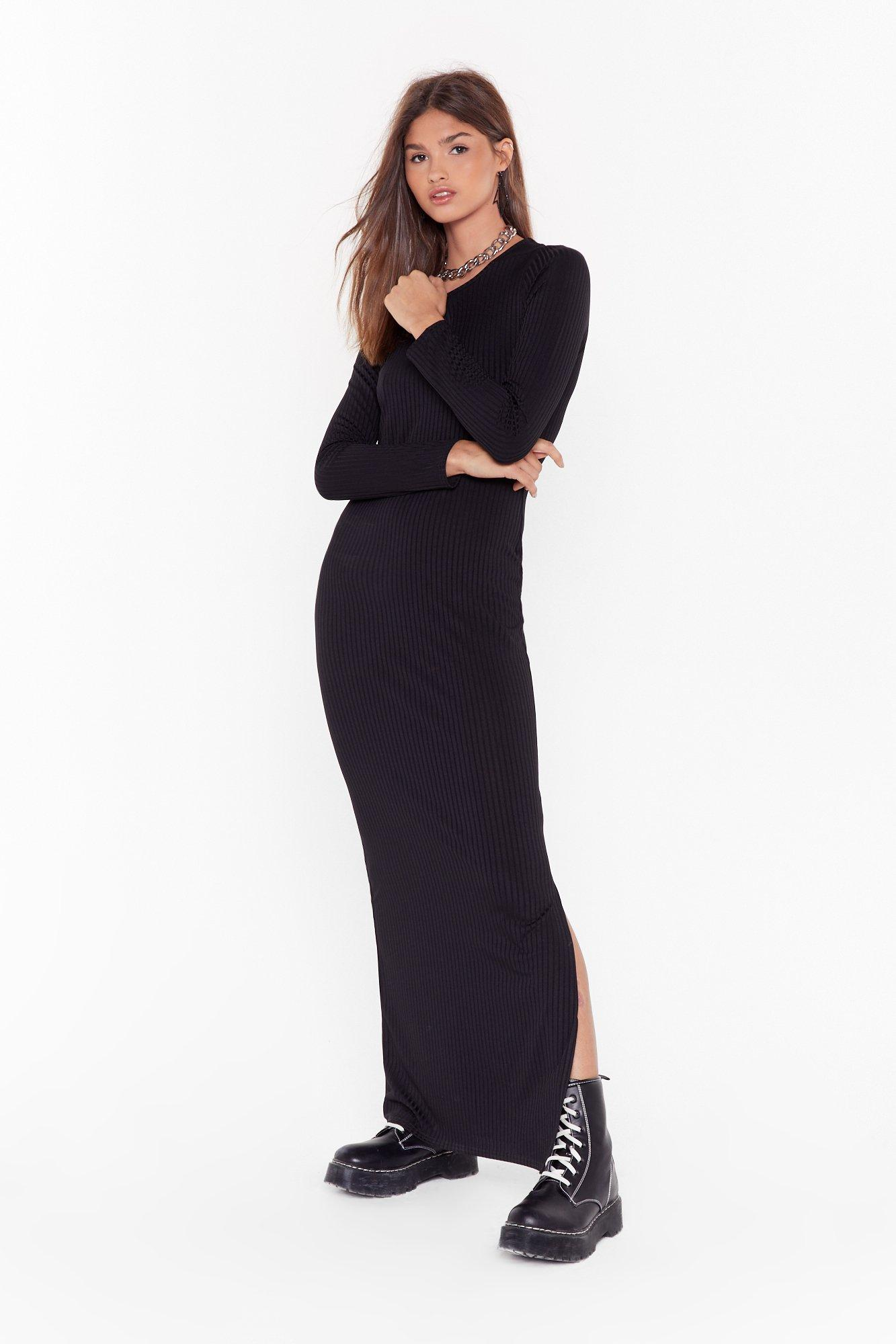 Image of Slit or Miss Ribbed Maxi Dress