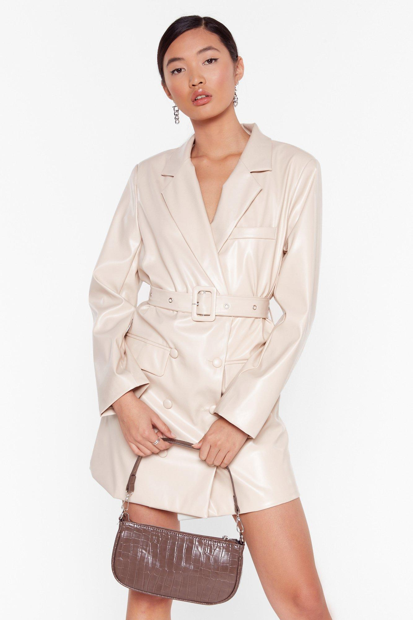 Image of Faux Leather Too Busy Blazer Mini Dress