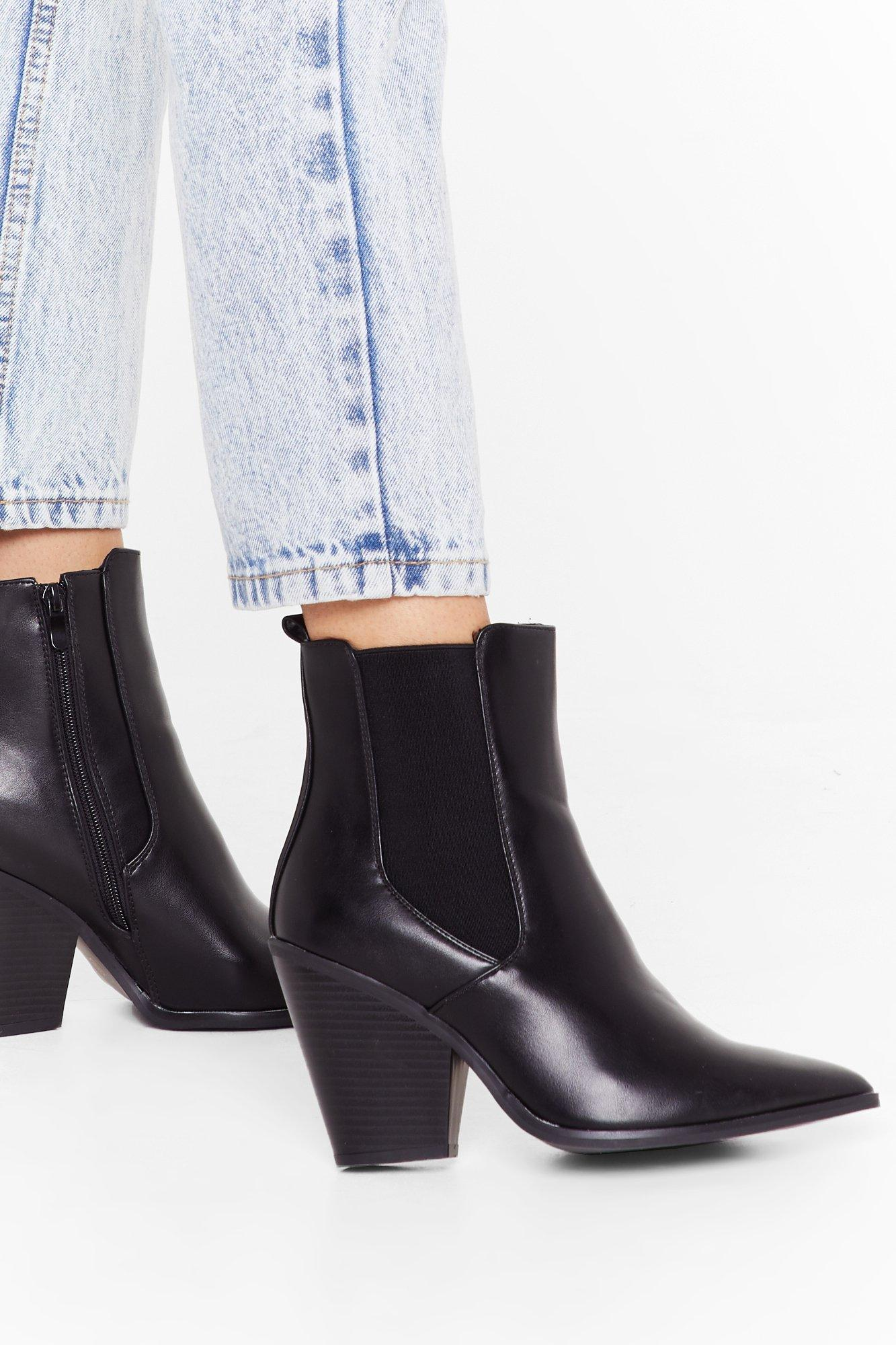 Image of You've Gotta Point Faux Leather Chelsea Boots