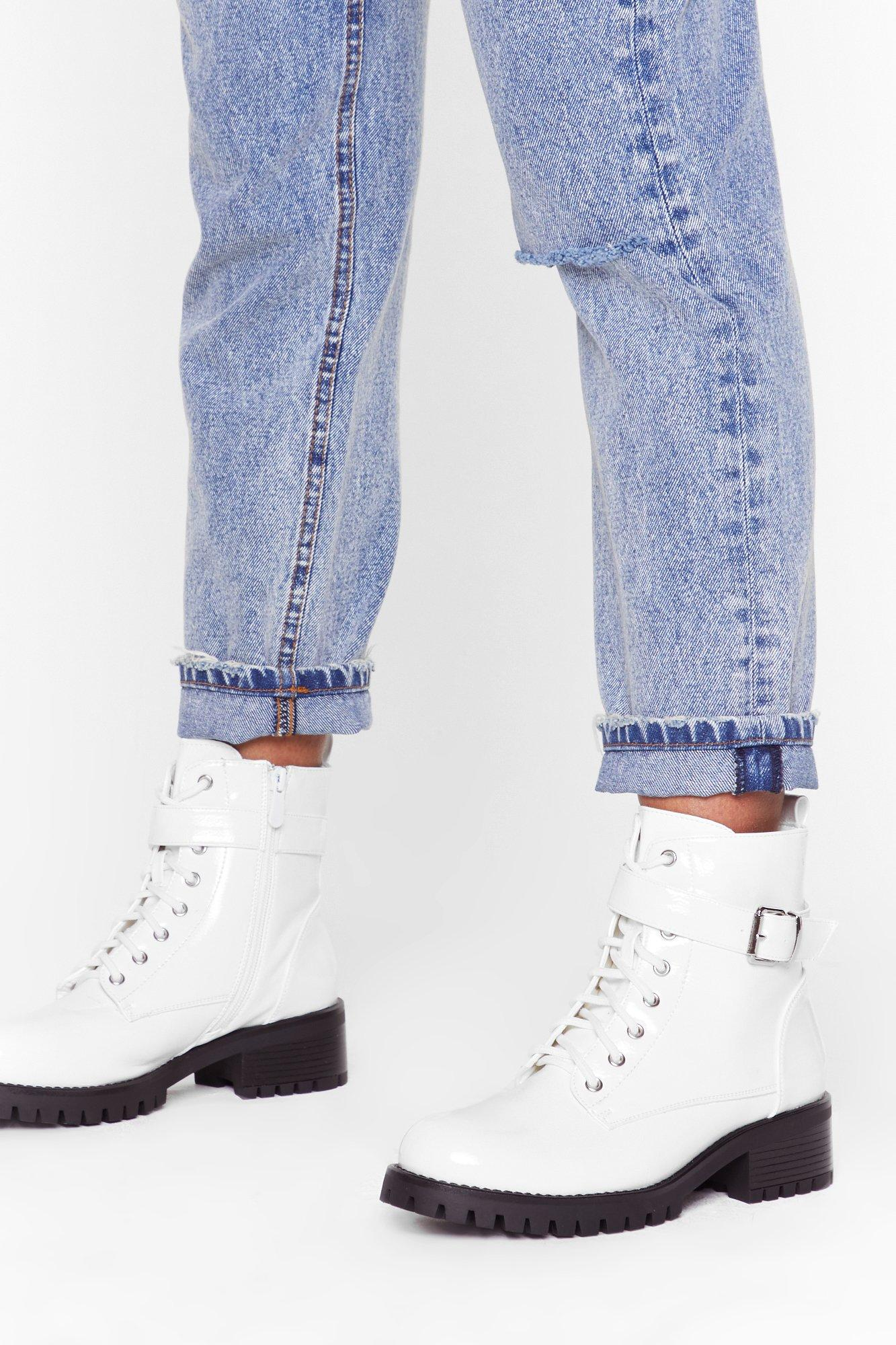 Image of Buck-le You Patent Faux Leather Boots