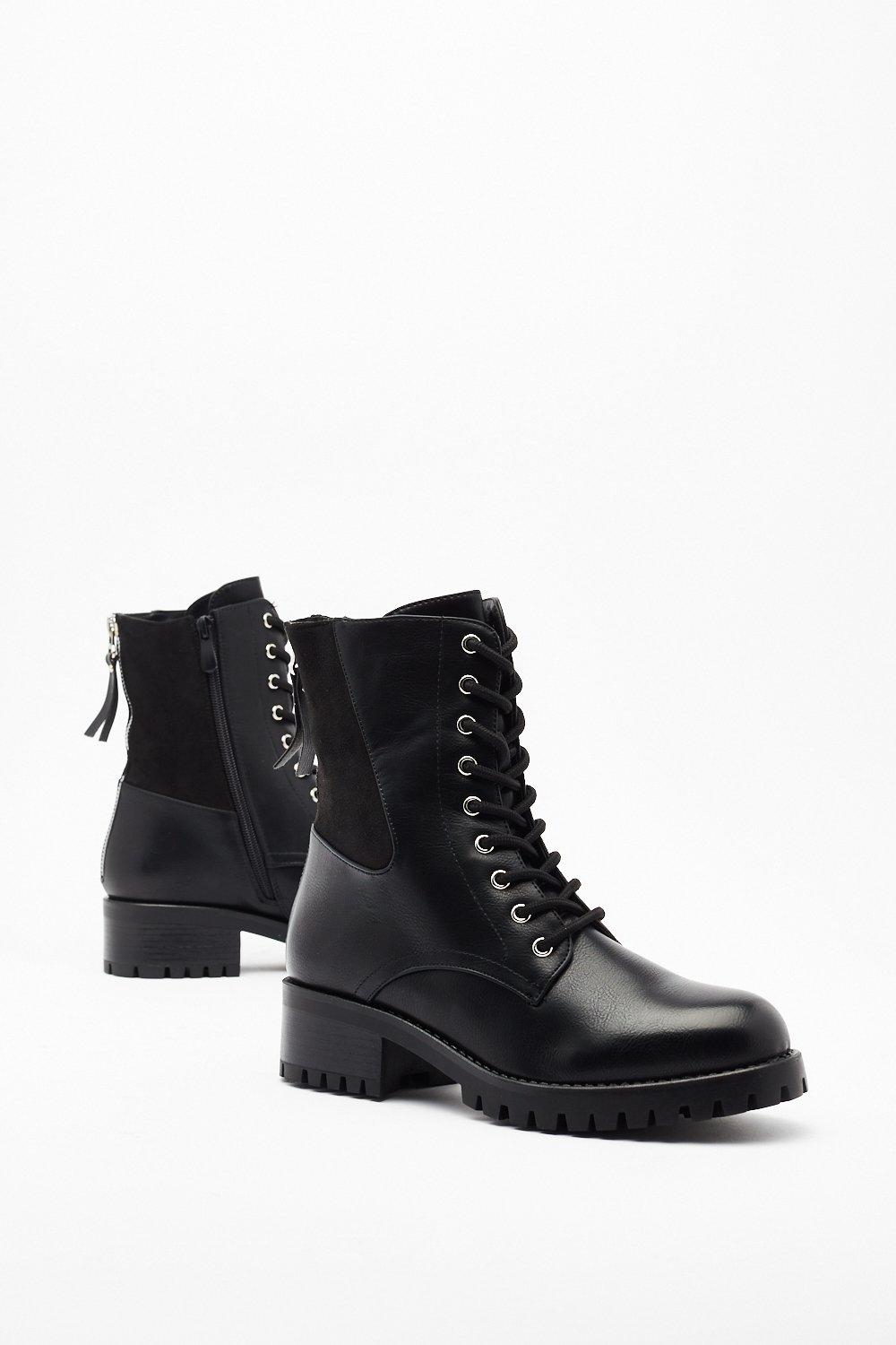 Image of Pu Suede Panel Lace Up Biker Boots