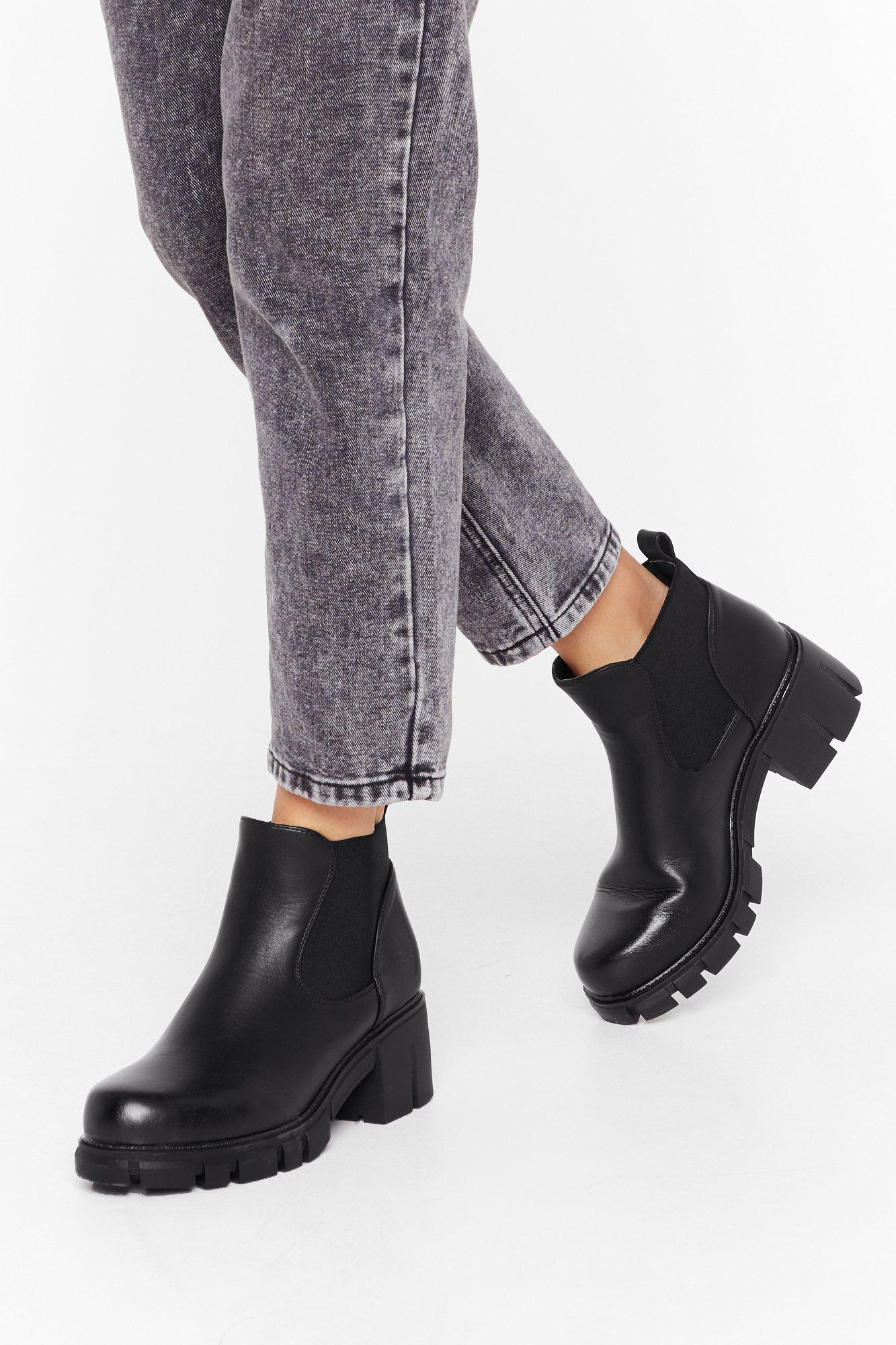Image of Stroll On Faux Leather Cleated Boots