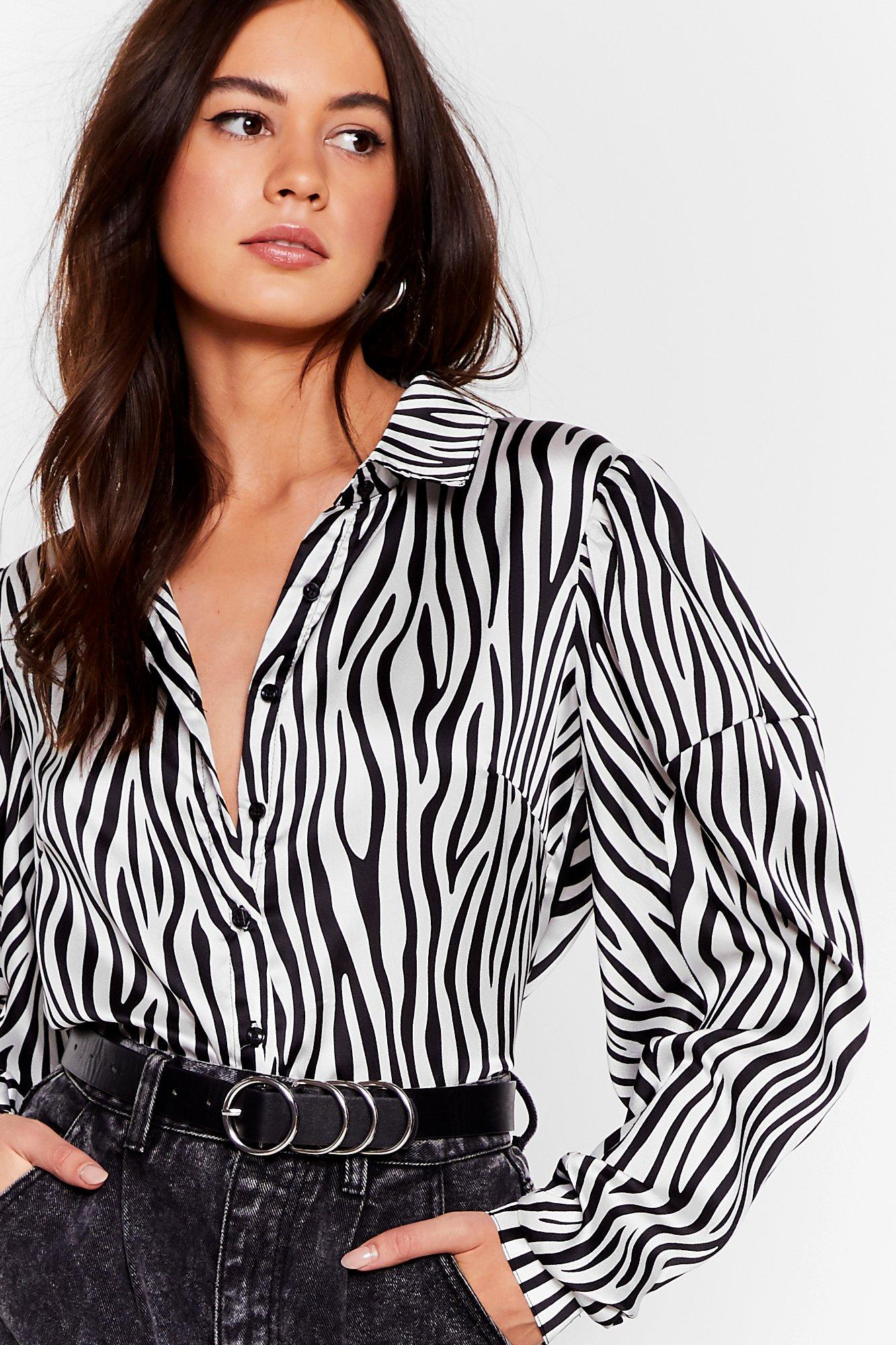 Image of Herd 'Em Say Satin Zebra Shirt