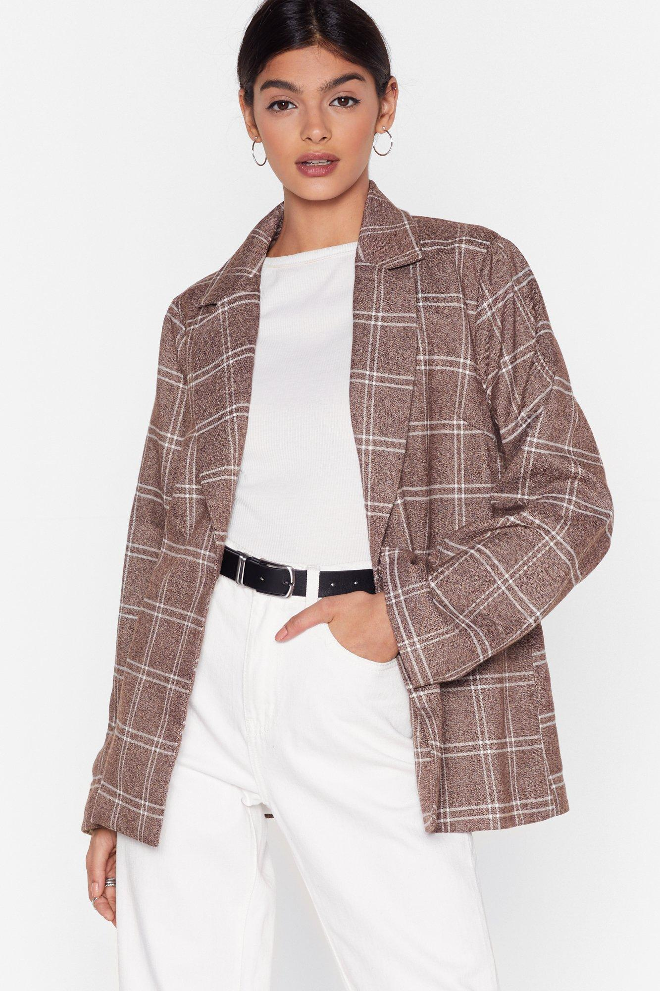 Image of Grid I Forget to Mention Oversized Check Blazer