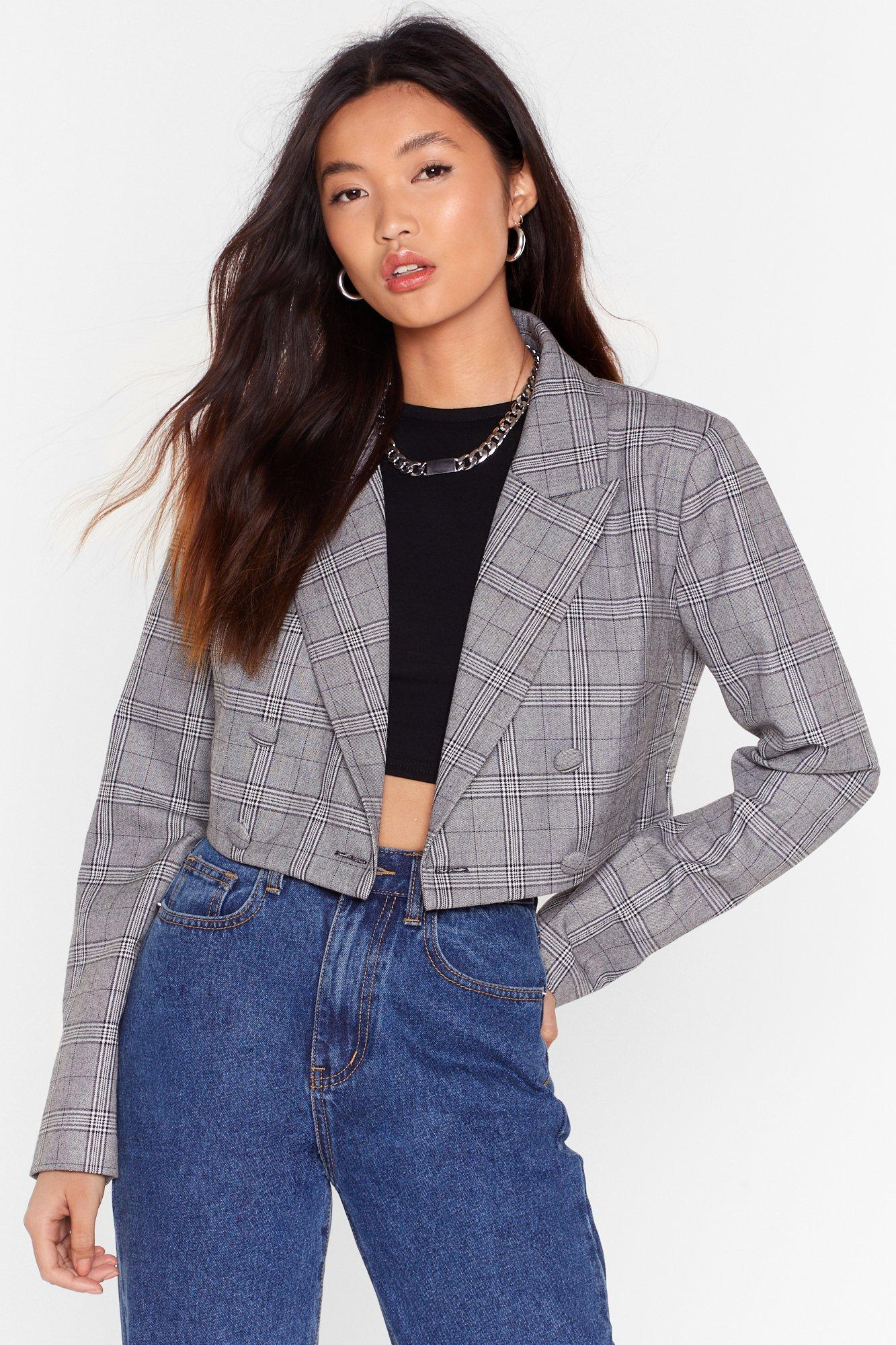 Image of Risky Business Check Double Breasted Blazer