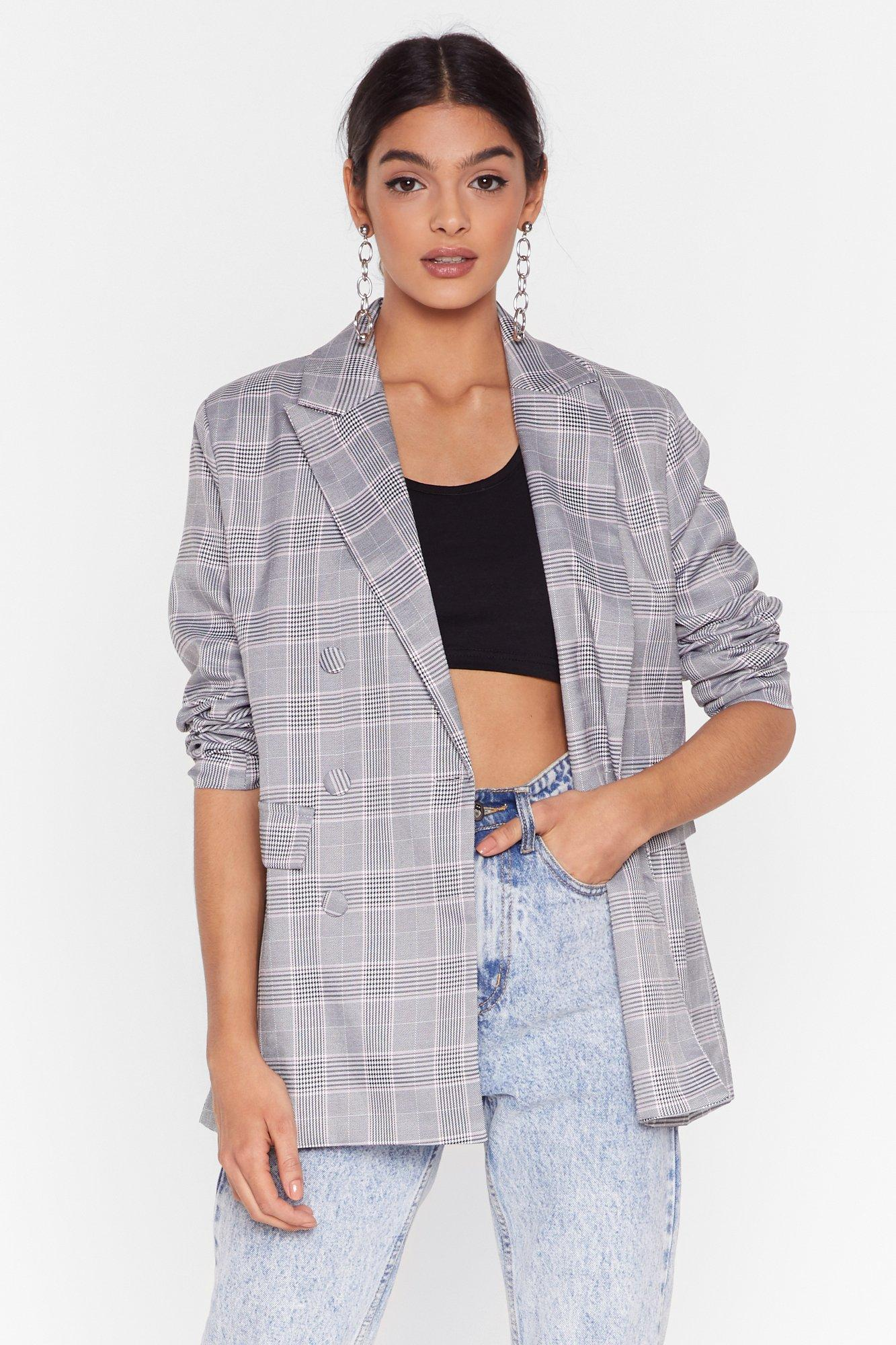 Image of How Grid You Guess Check Cropped Blazer