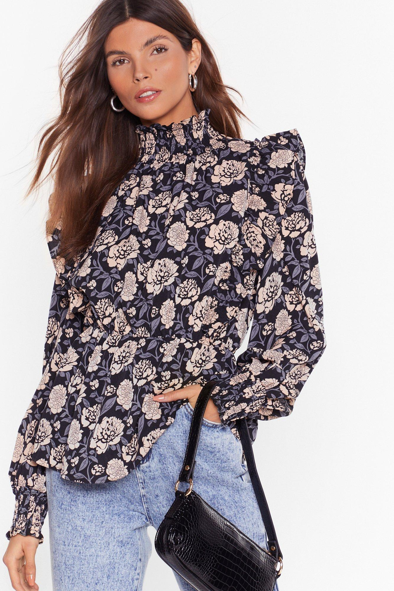 Image of Nothing Bud Flowers Floral Puff Shoulder Blouse
