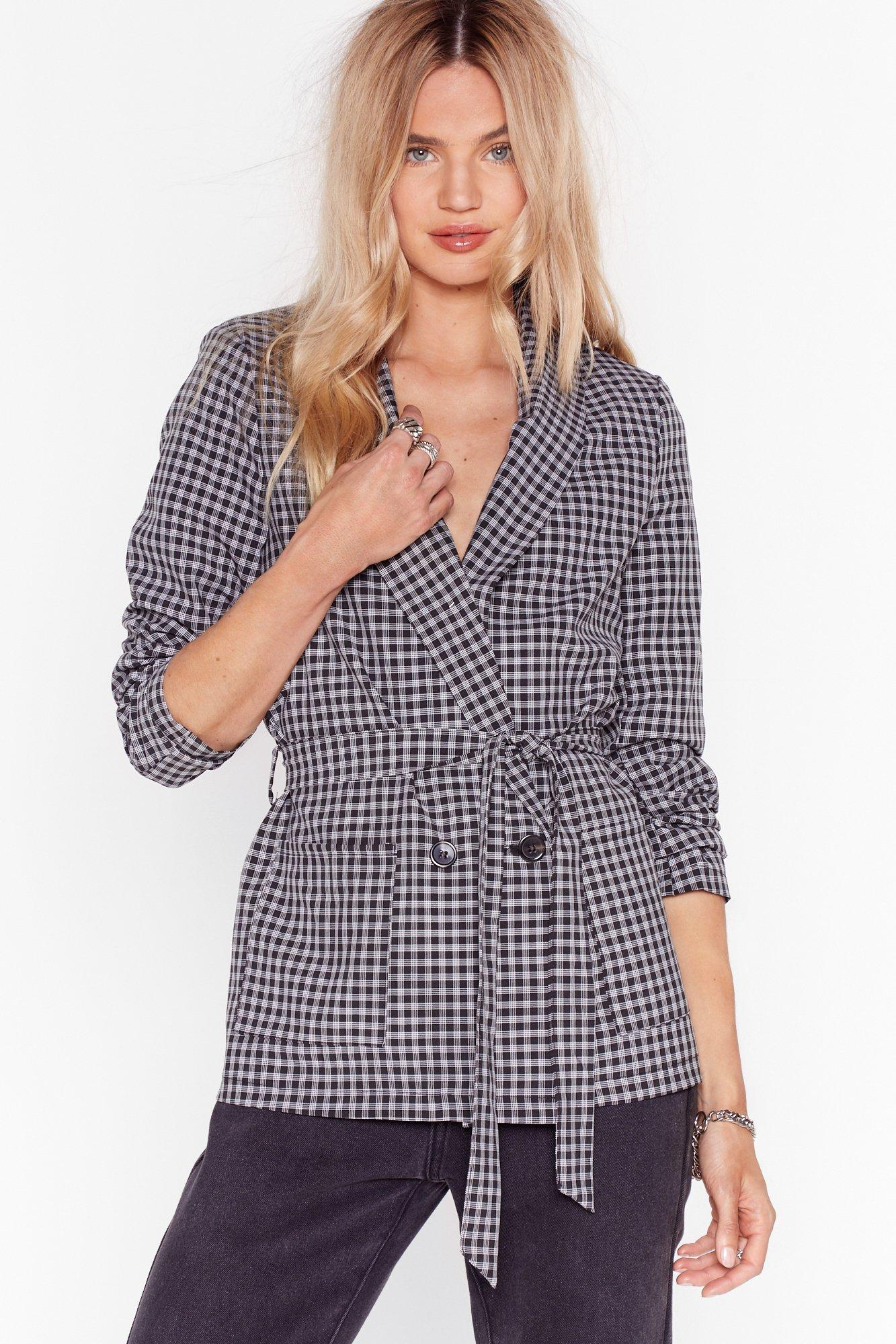 Image of Hear You're Doin' Line Belted Check Blazer