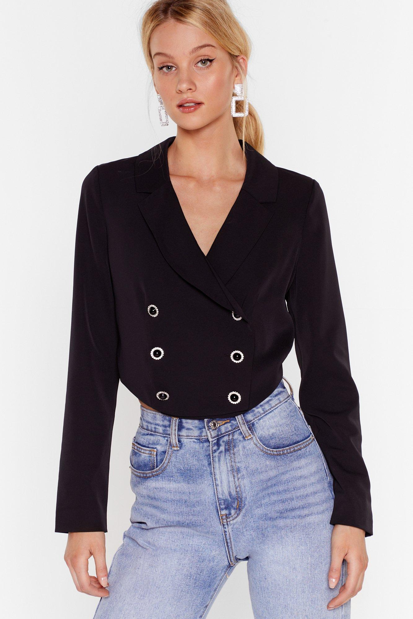 Image of Nine to Five Cropped Double Breasted Blazer