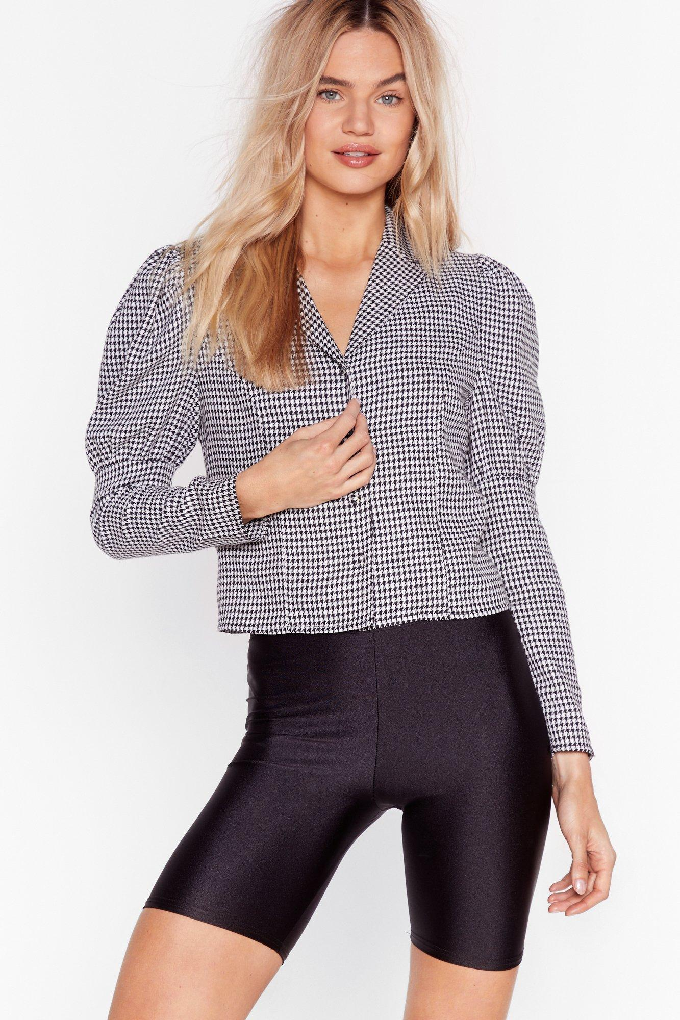 Image of Look What We Houndstooth Cropped Puff Sleeve Shirt