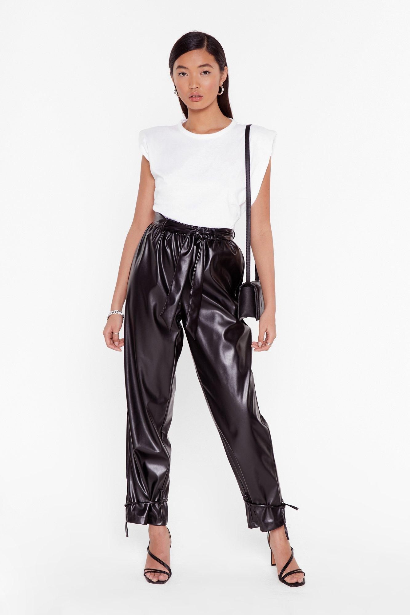 Image of Tie 'Em Down Faux Leather High-Waisted Pants