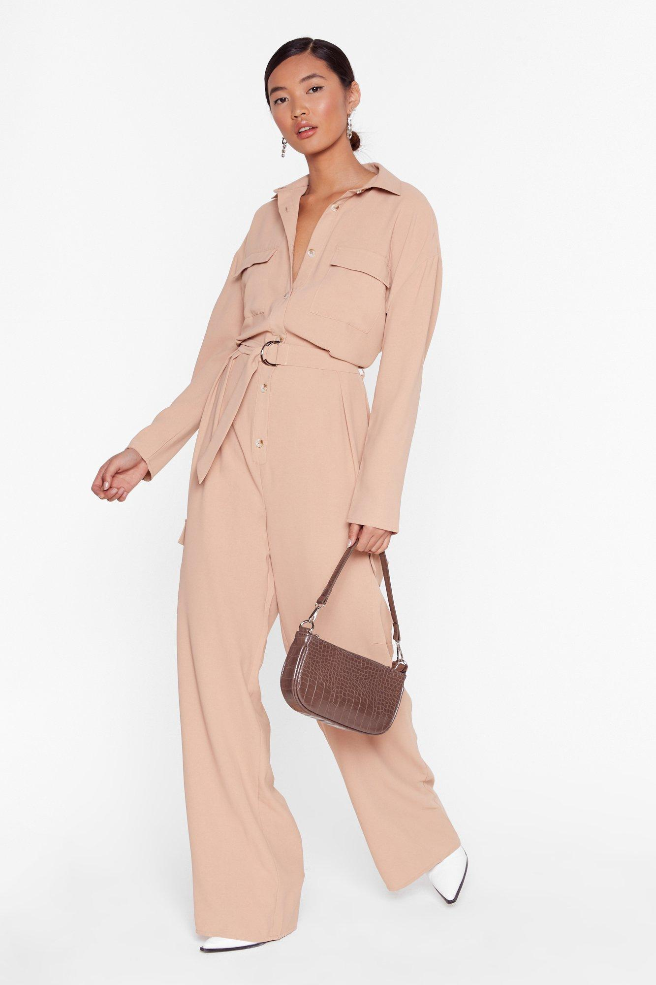 Image of Put Your Back Into It Utility Belted Jumpsuit