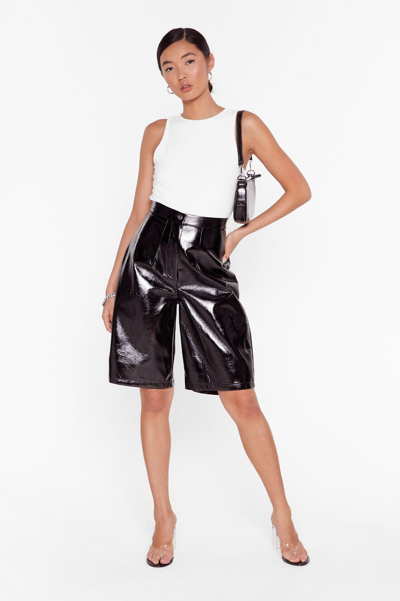Image of It's Been too Longline Vinyl High-Waisted Shorts