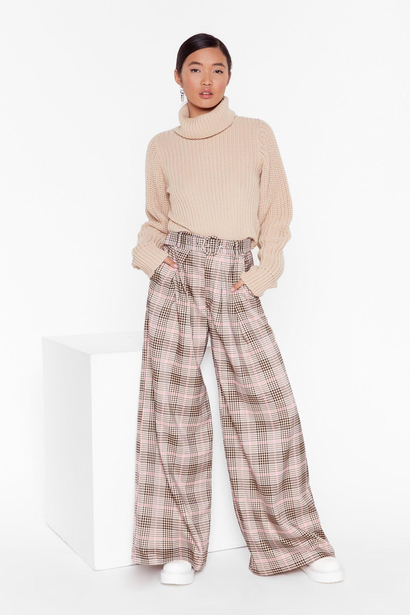 Image of Ticking the Boxes Wide-Leg Check Pants