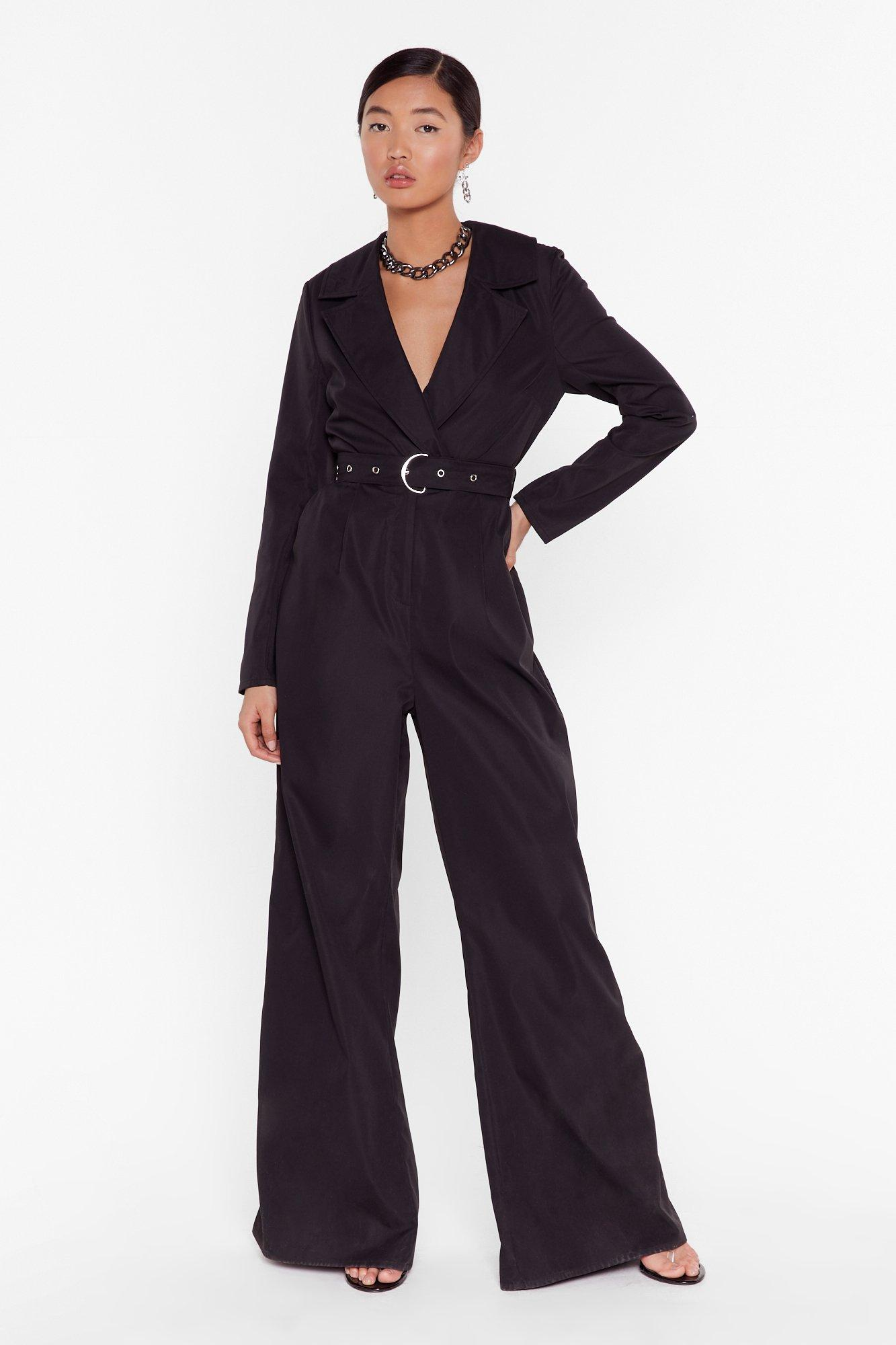 Image of Put in a Little Work Belted Wide-Leg Jumpsuit
