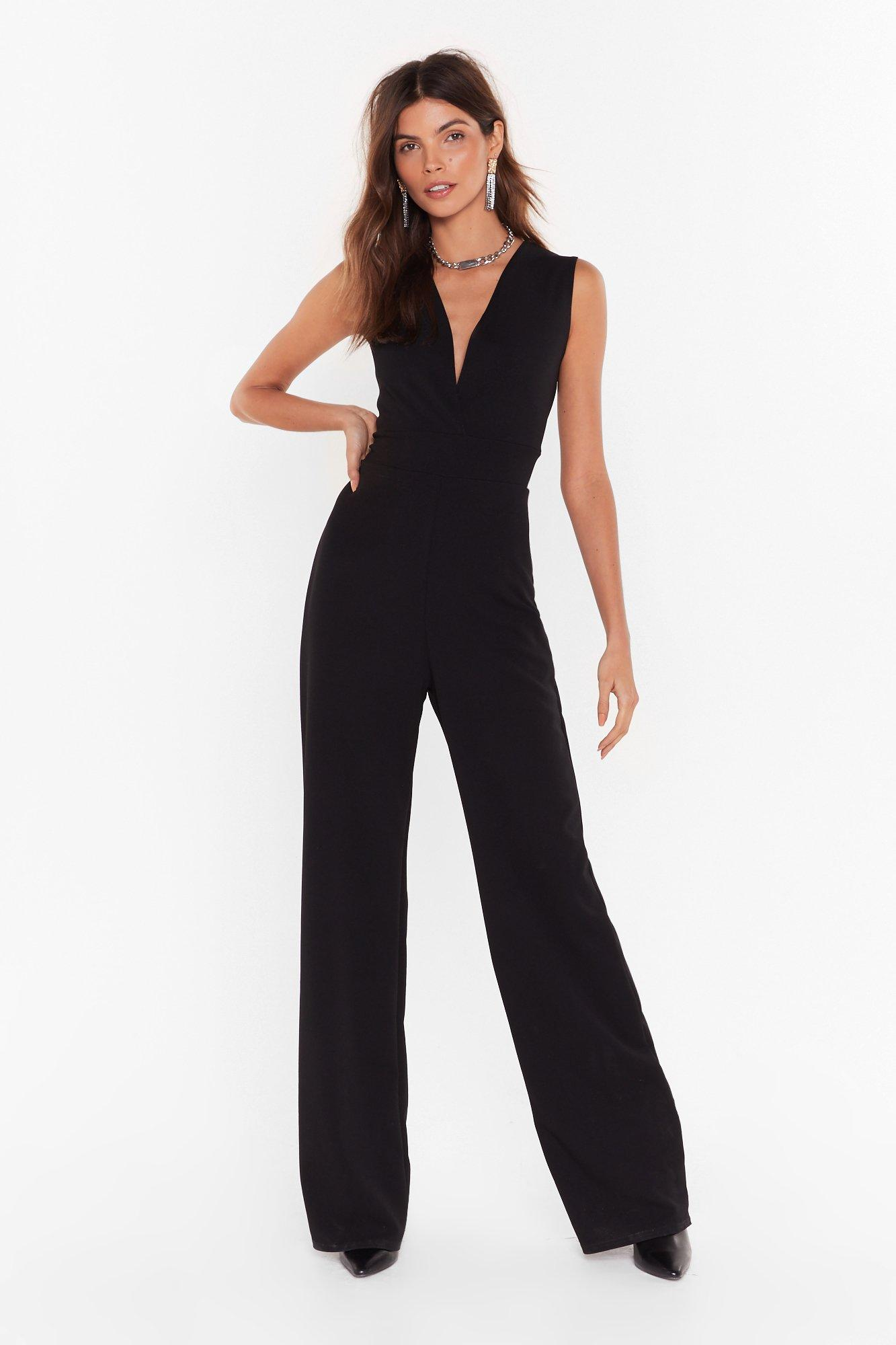 Image of Always V Yourself Plunging Wide-Leg Jumpsuit