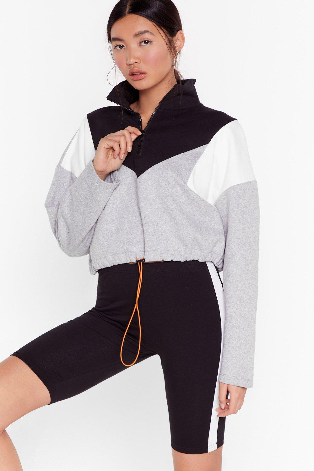 Image of Walk the Color Block Zip Cropped Sweatshirt