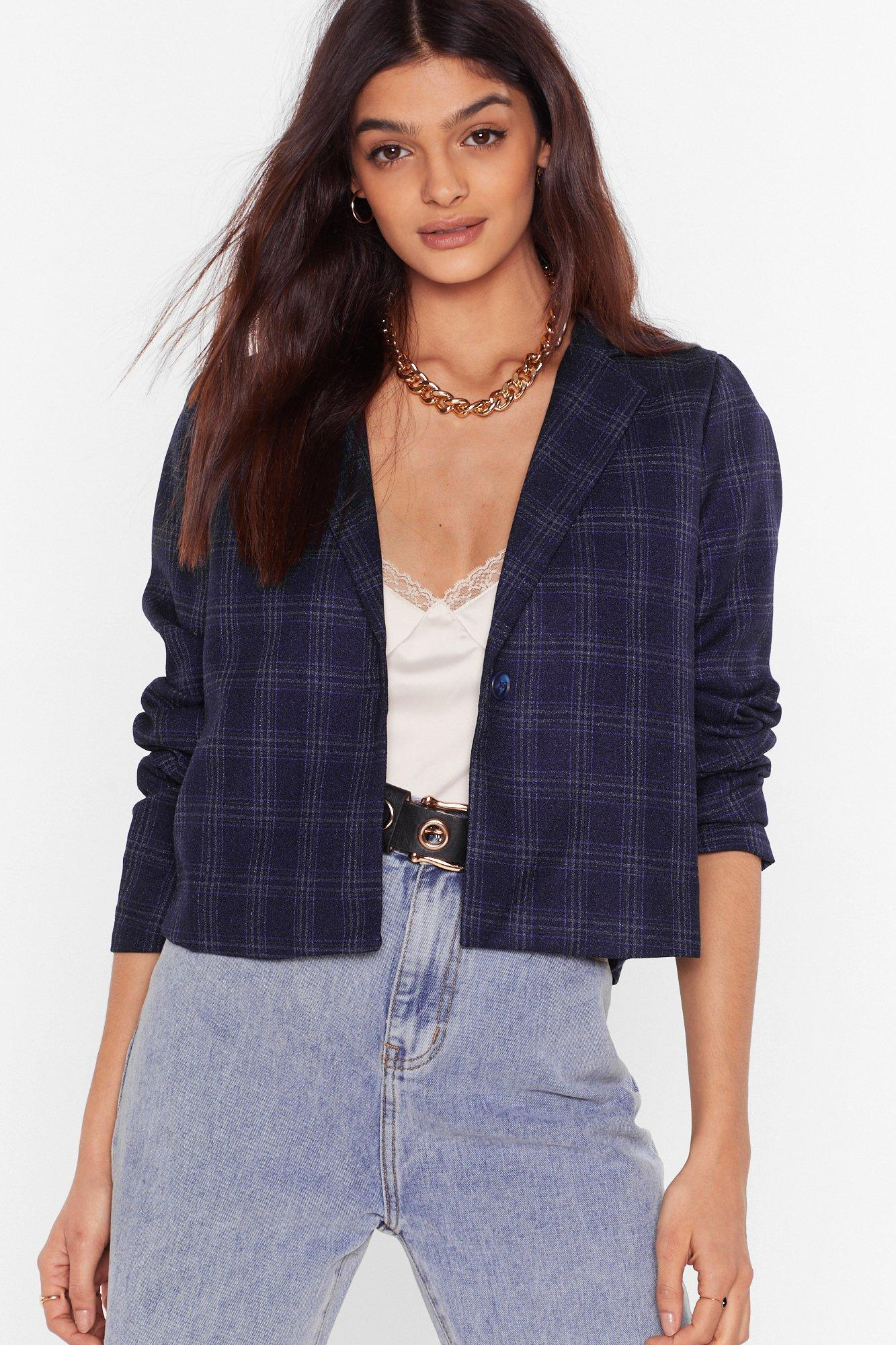 Image of Check It Out Now Cropped Faux Wool Blazer