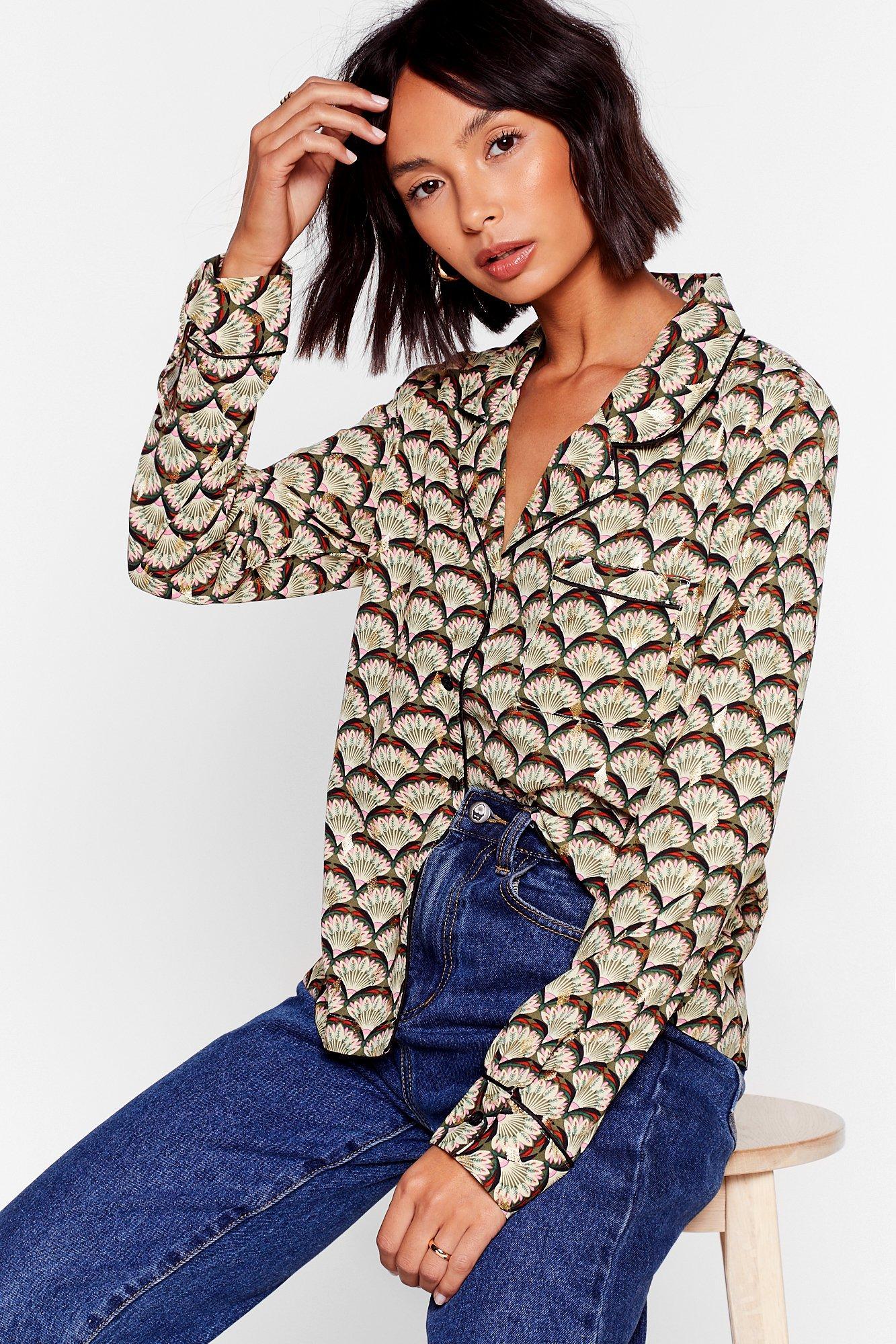 Image of Big Fan Pattern Button-Down Shirt