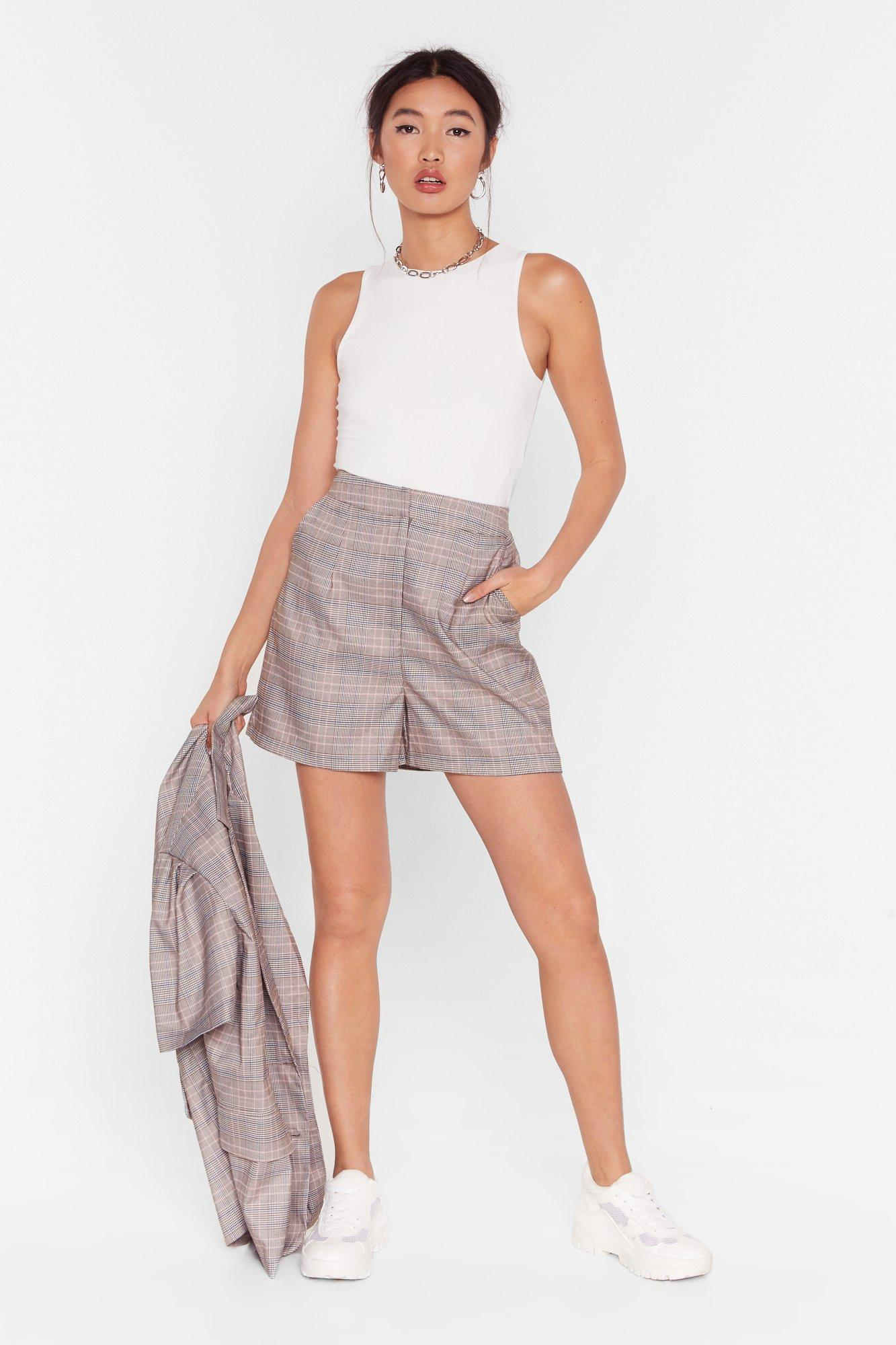 Image of Check It Over High-Waisted Shorts
