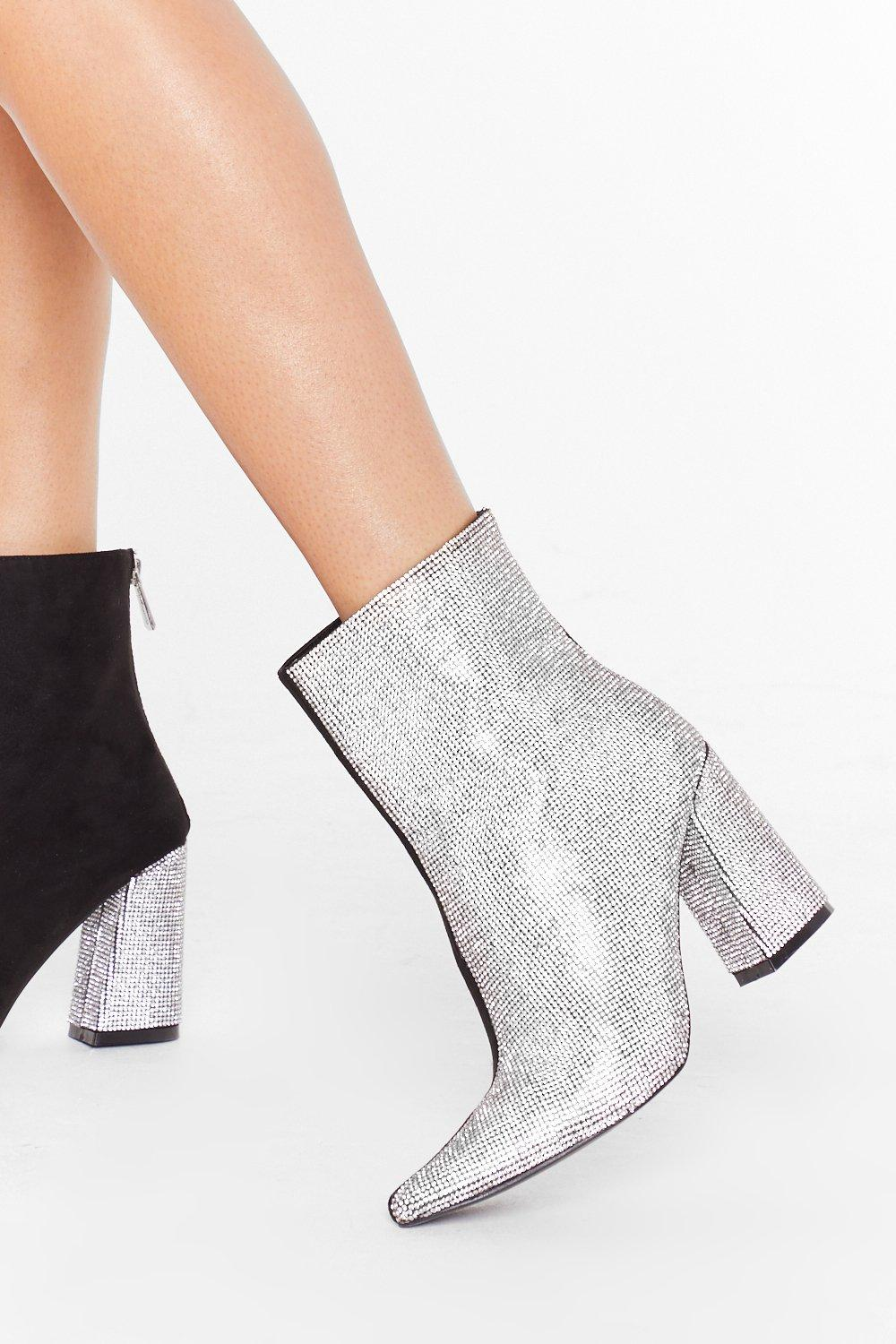 Image of Can't Decide Diamante Heeled Boots