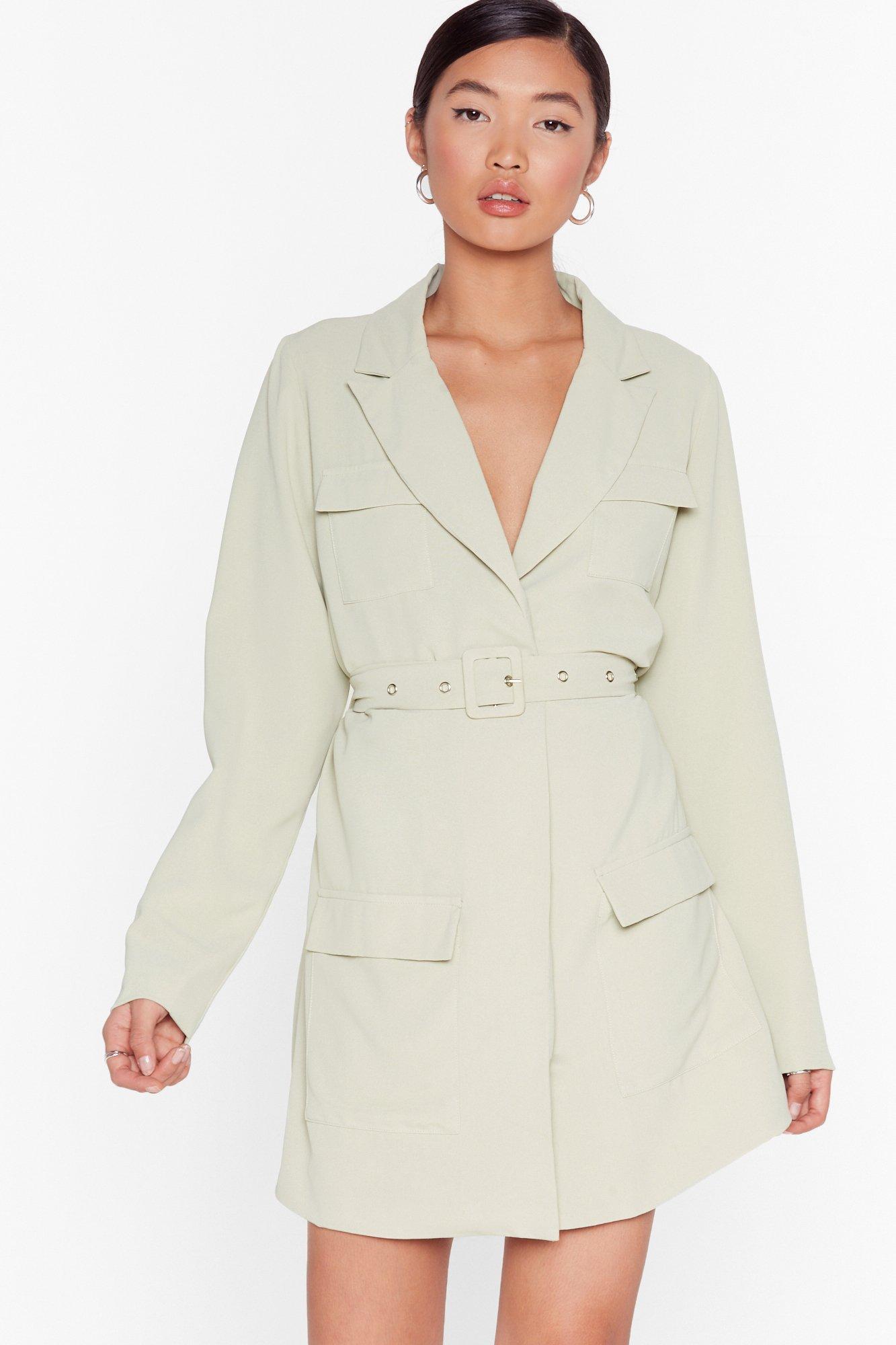 Image of Pocket Off Belted Blazer Dress