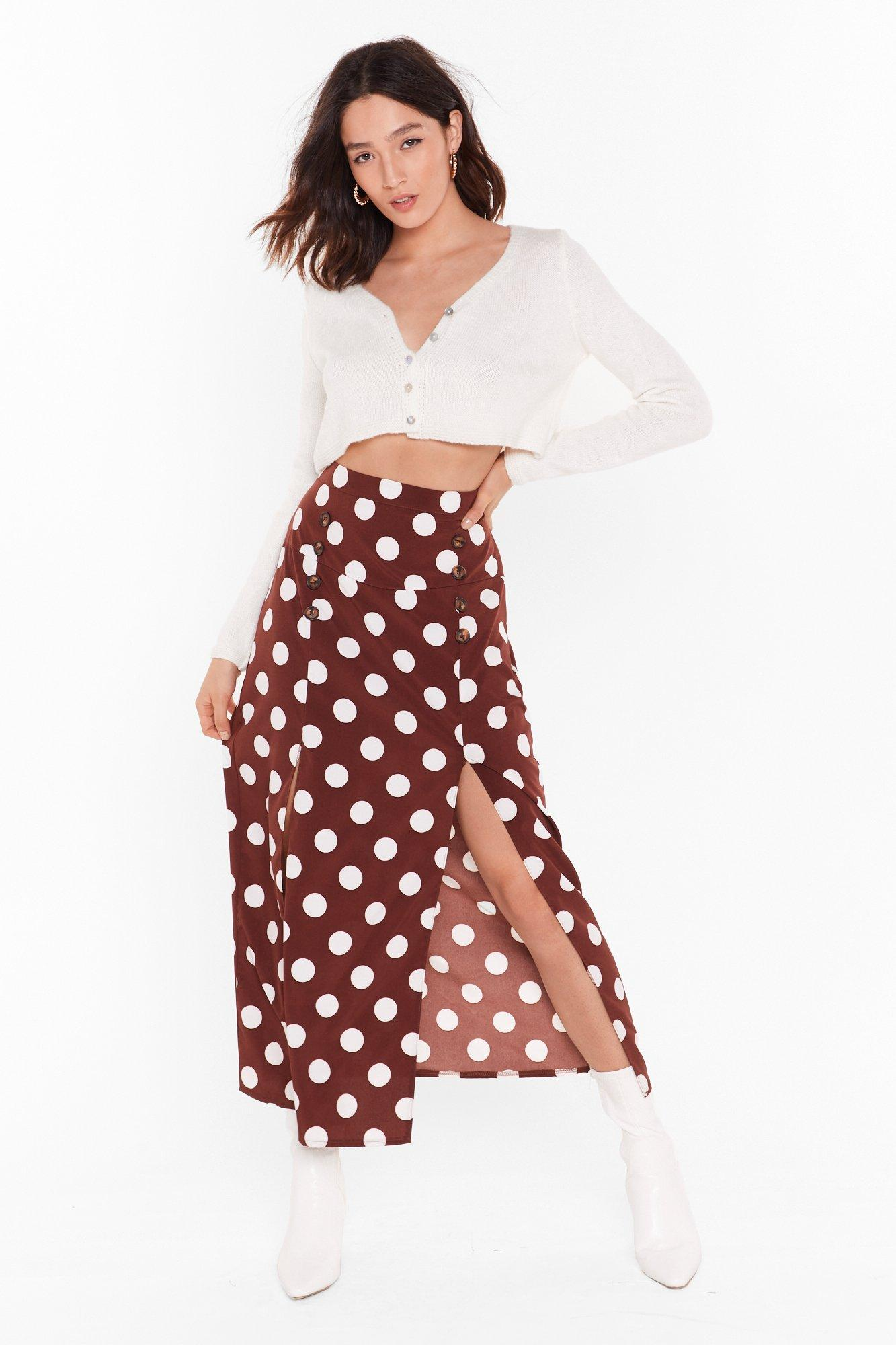 Image of Dot It All Button Midi Skirt