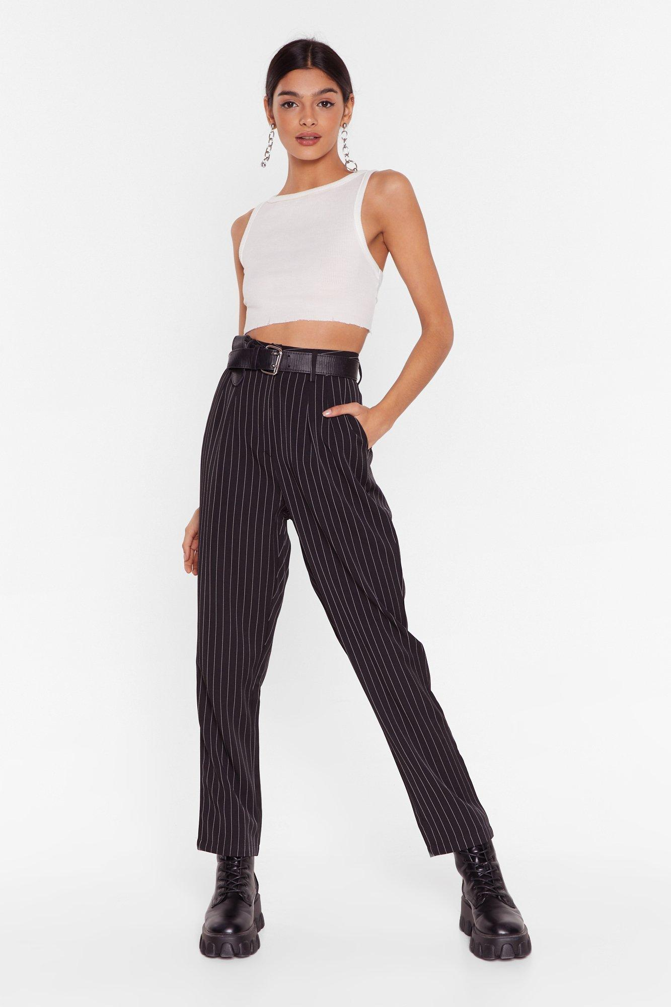 Image of Pinstripe Up Your Life High-Waisted Pants