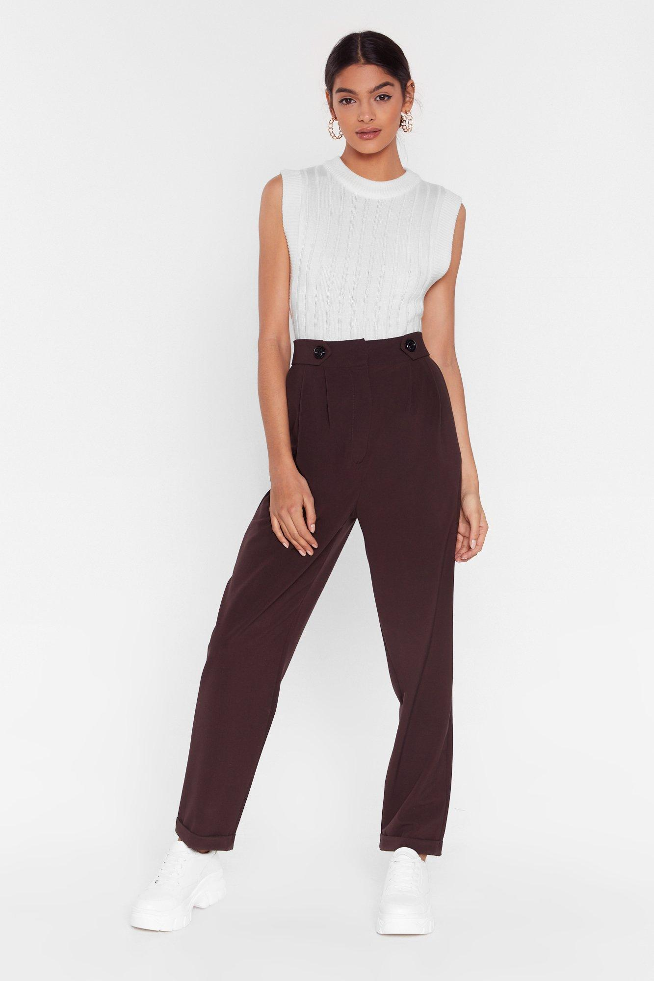 Image of Button It Please High-Waisted Tapered Pants