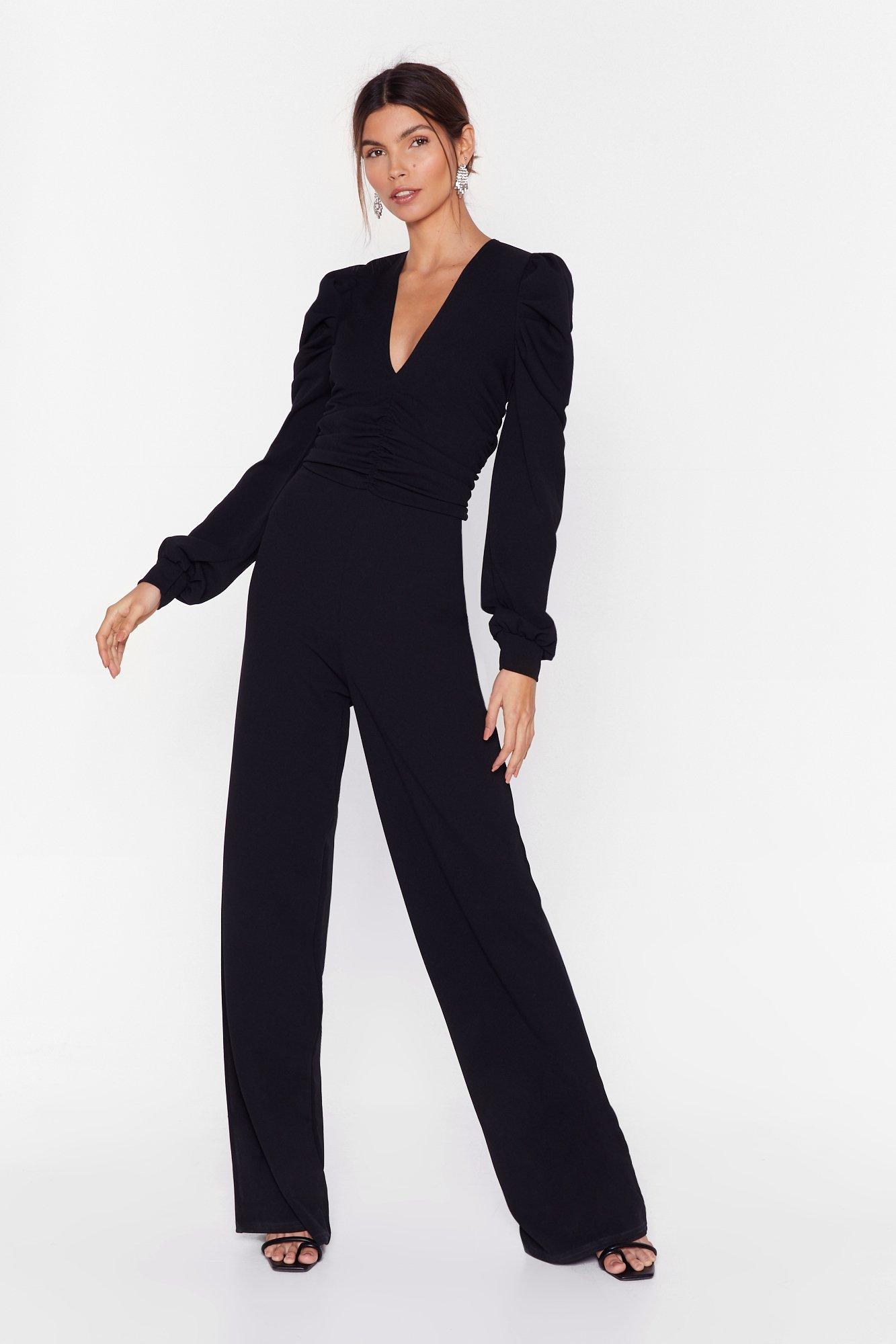 Image of Ruche to the Bar Wide-Leg Puff Sleeve Jumpsuit