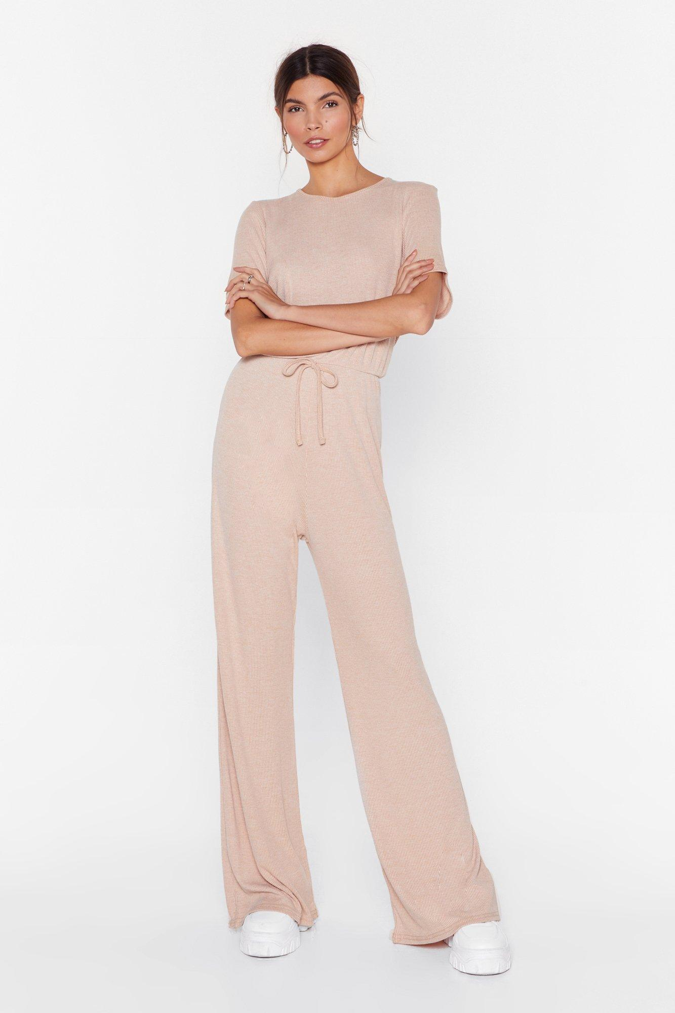 Image of What's Love Got to Do With Rib Wide-Leg Jumpsuit