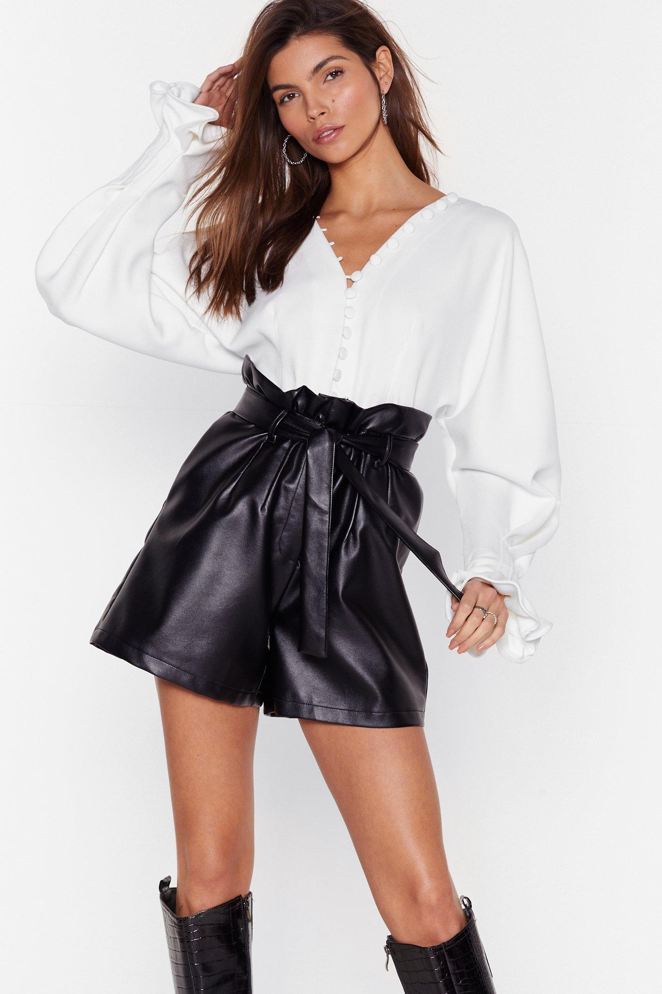 Image of Faux Leather Break Your Heart Paperbag Shorts